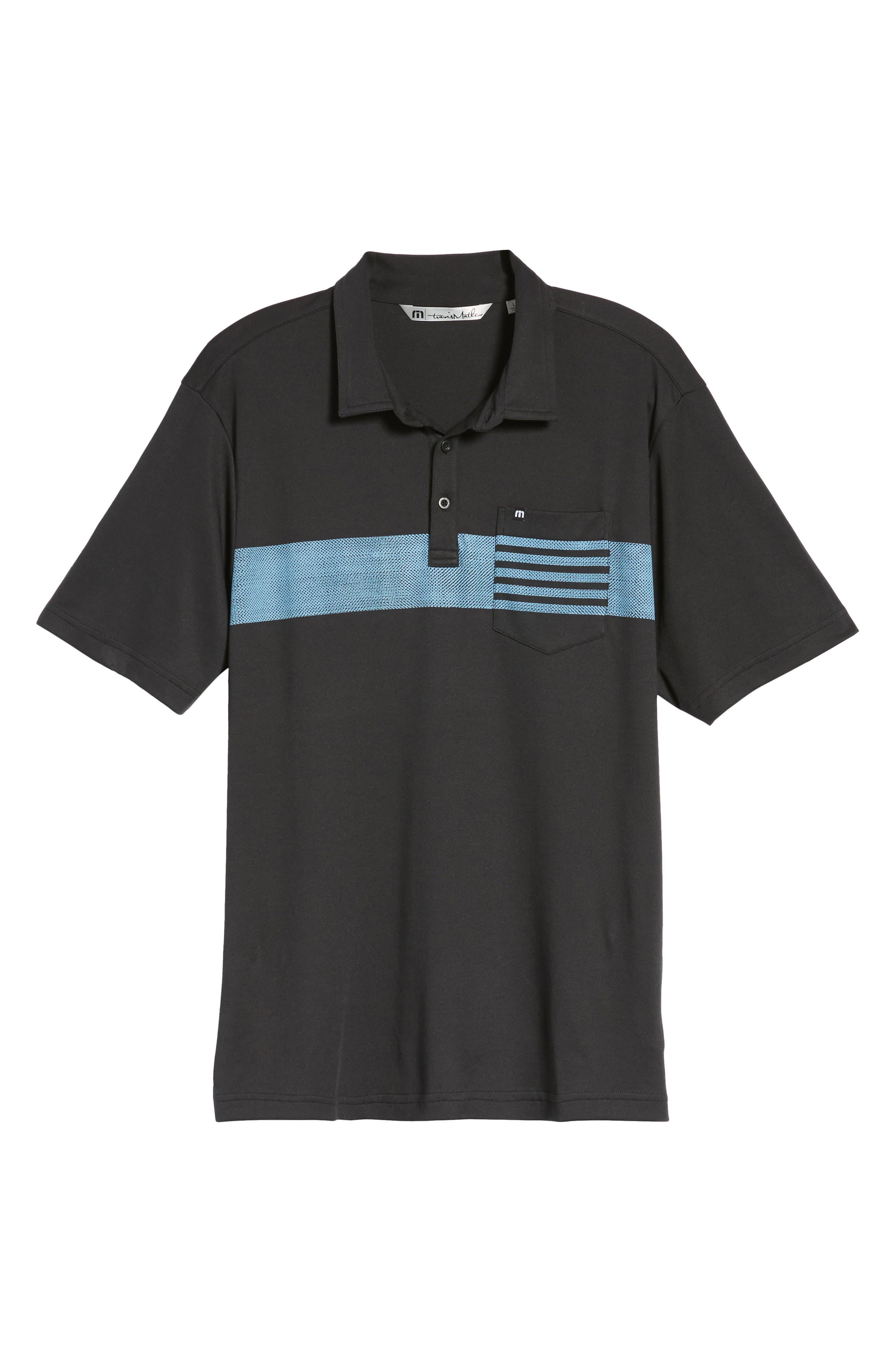 Russ Chest Stripe Pocket Polo,                             Alternate thumbnail 6, color,                             Black