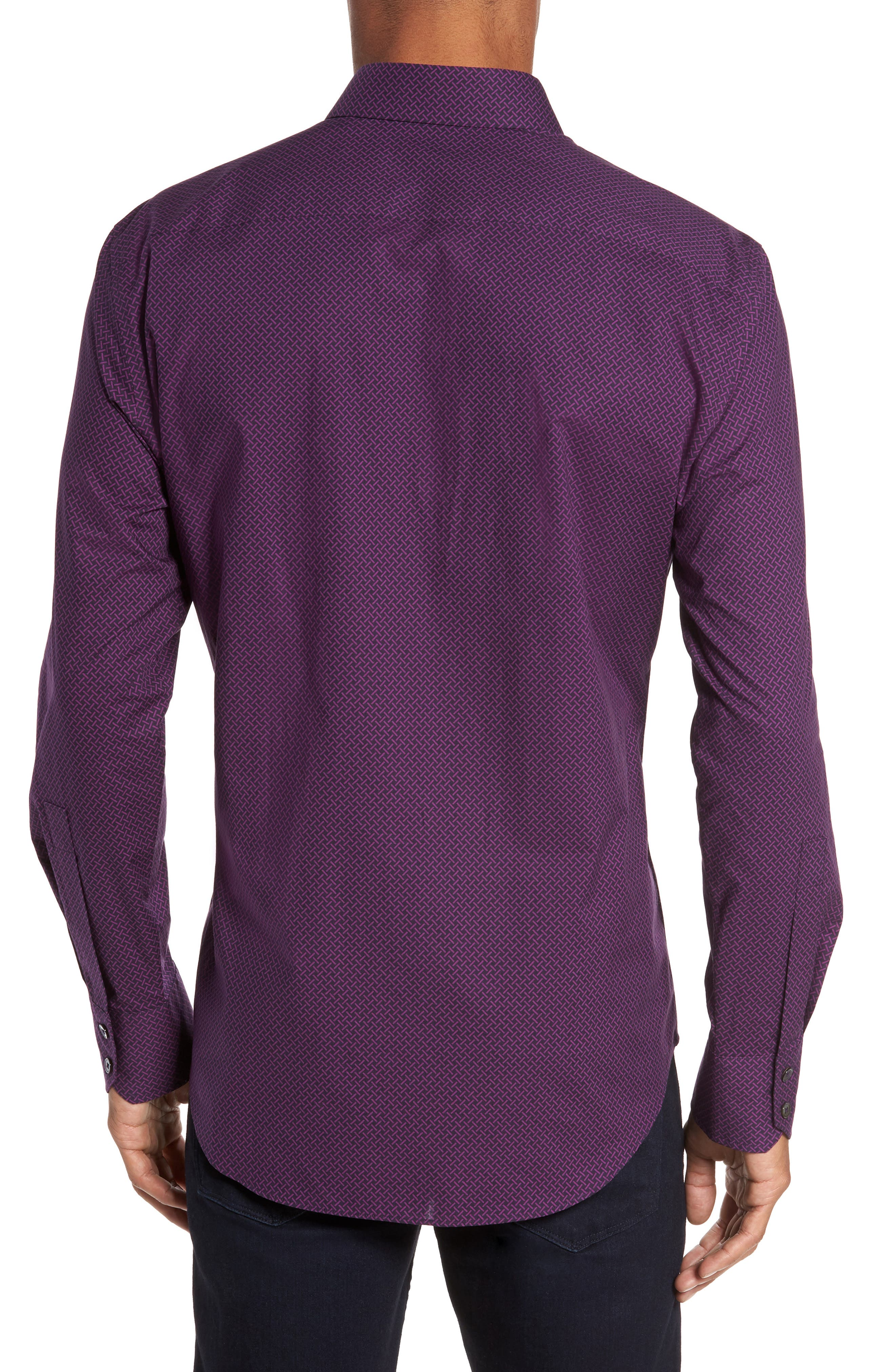 Dewyze Print Sport Shirt,                             Alternate thumbnail 2, color,                             Purple