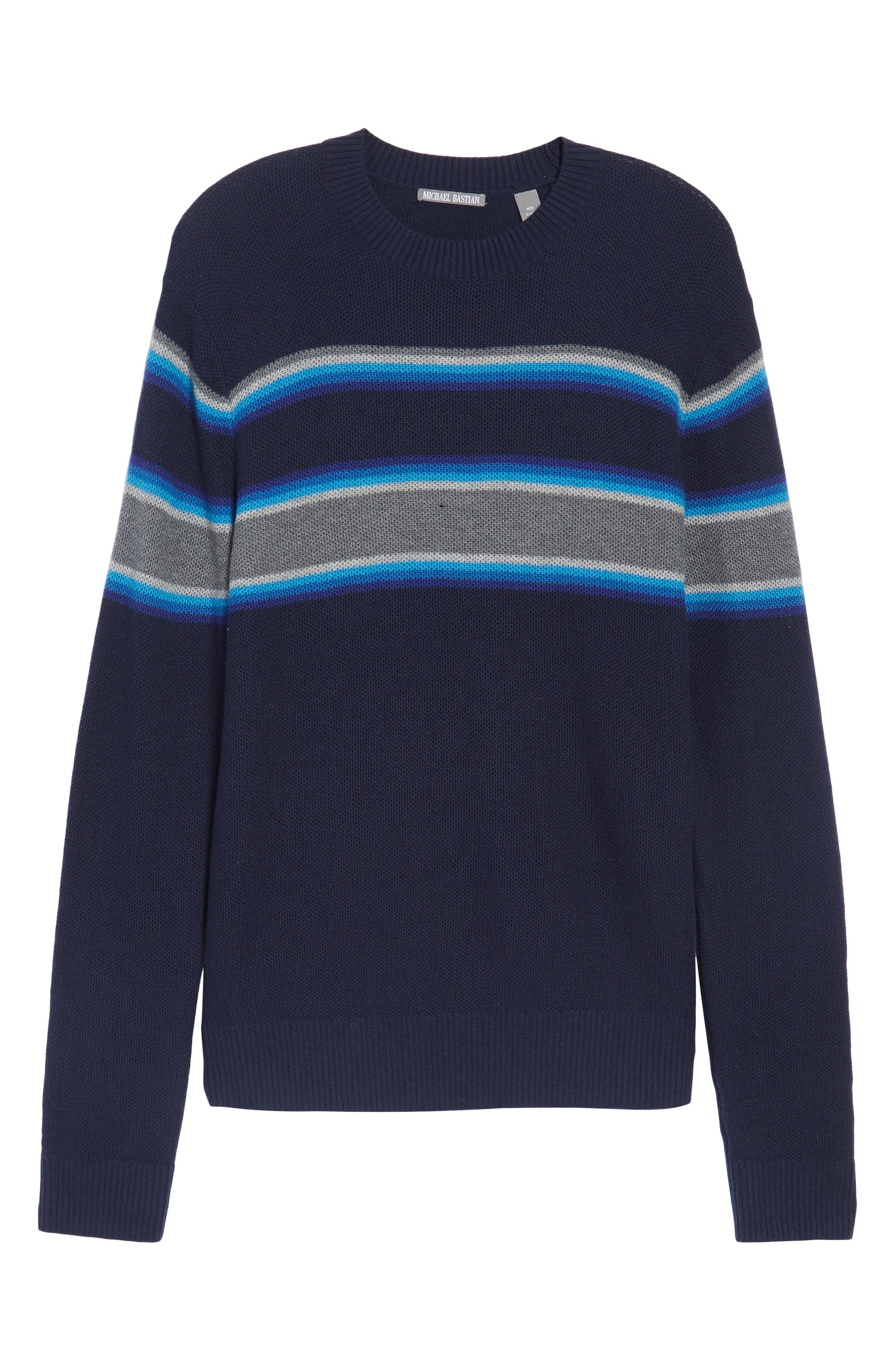 Alternate Image 6  - Michael Bastian Stripe Merino Blend Sweater