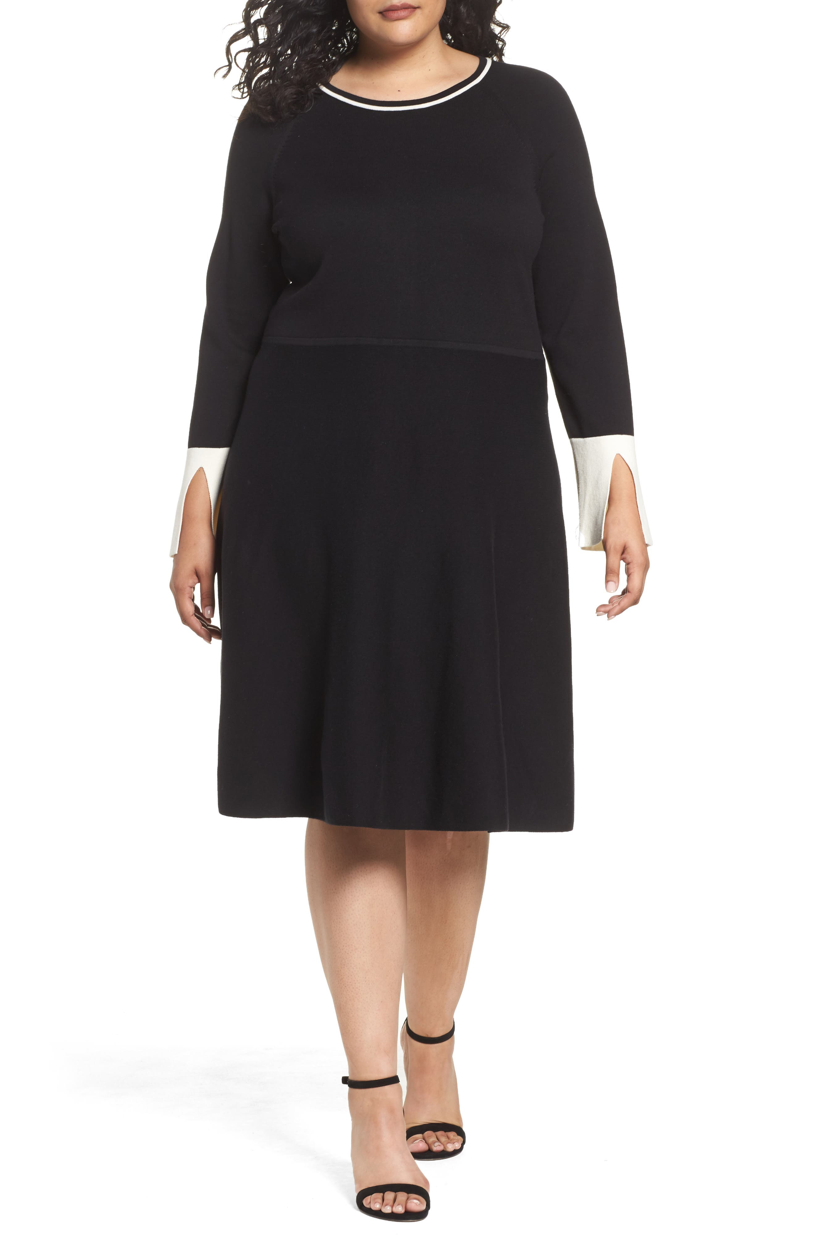 Fit & Flare Sweater Dress,                         Main,                         color, Rich Black