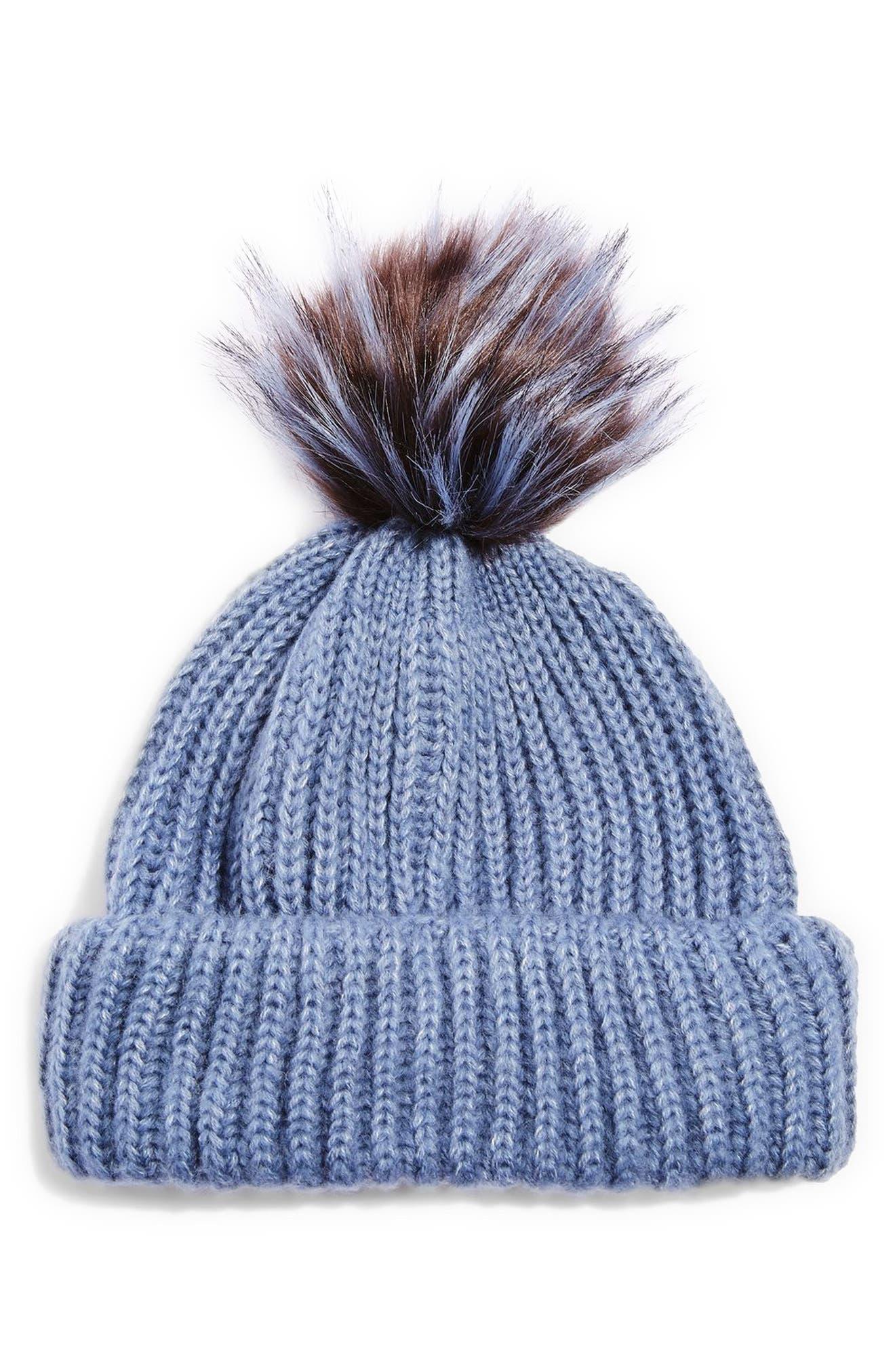 Faux Fur Pompom Beanie,                         Main,                         color, Mid Blue