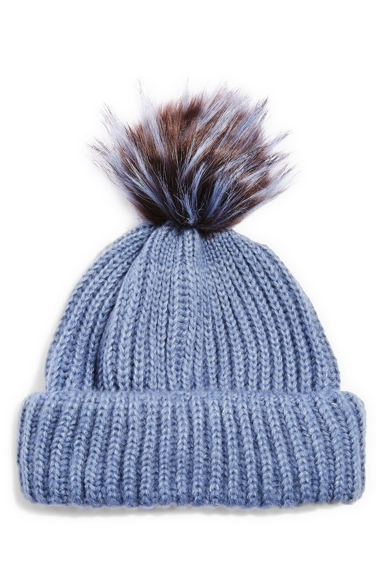 Faux Fur Pompom Beanie,                         Main,                         color, Mid Blue
