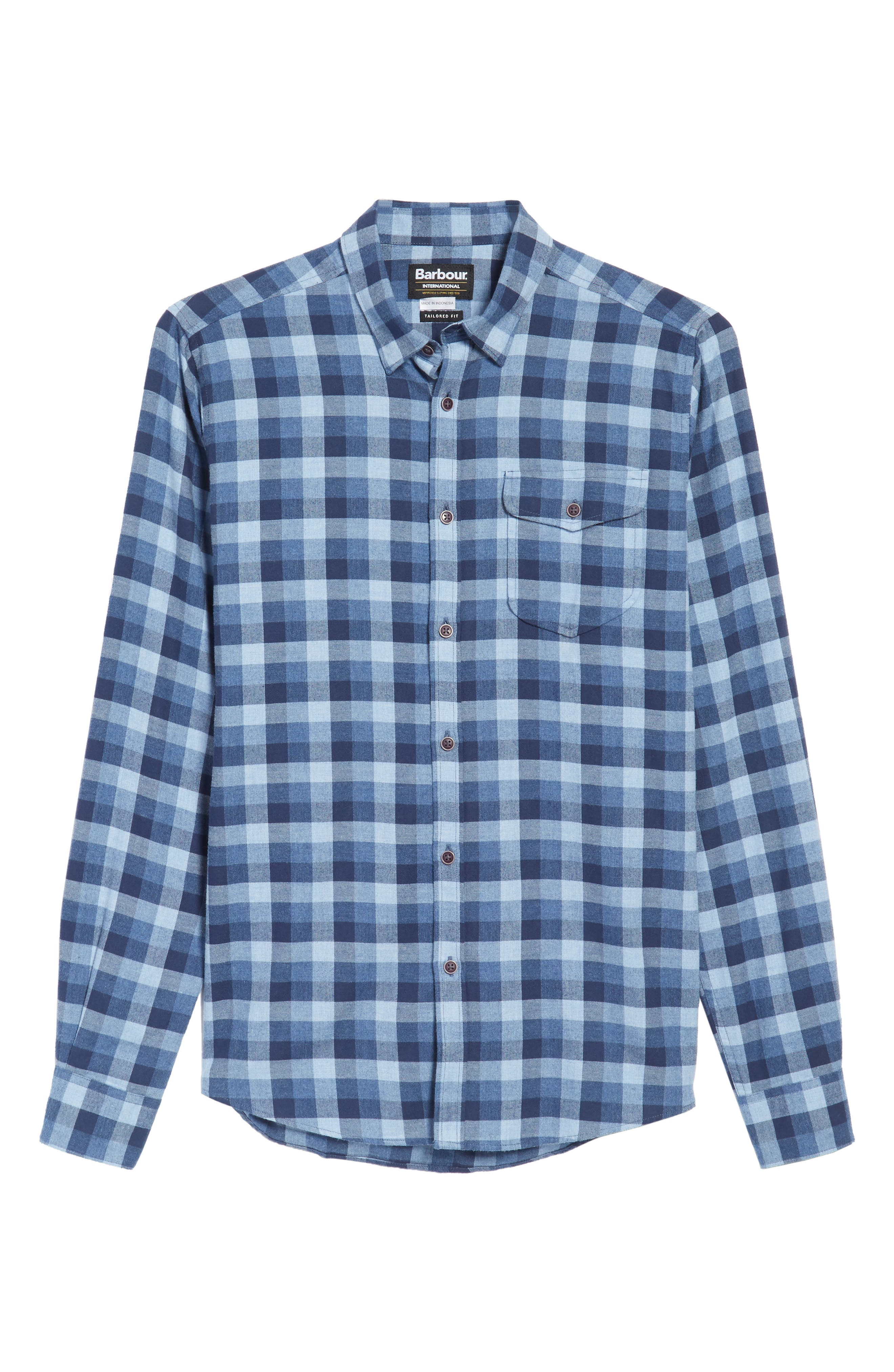 Grill Regular Fit Check Sport Shirt,                             Alternate thumbnail 6, color,                             Chambray
