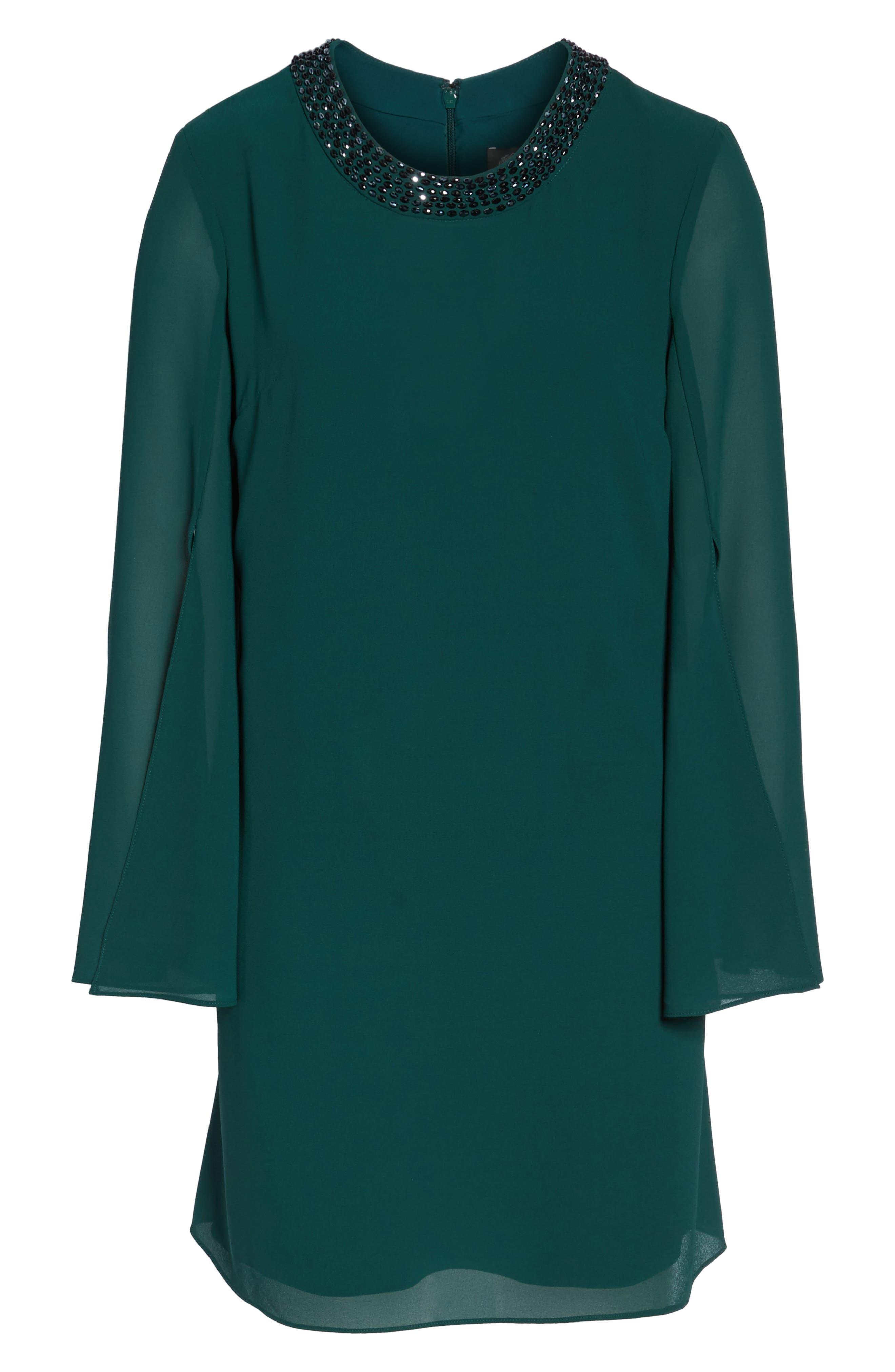 Embellished Chiffon Shift Dress,                             Alternate thumbnail 6, color,                             Hunter