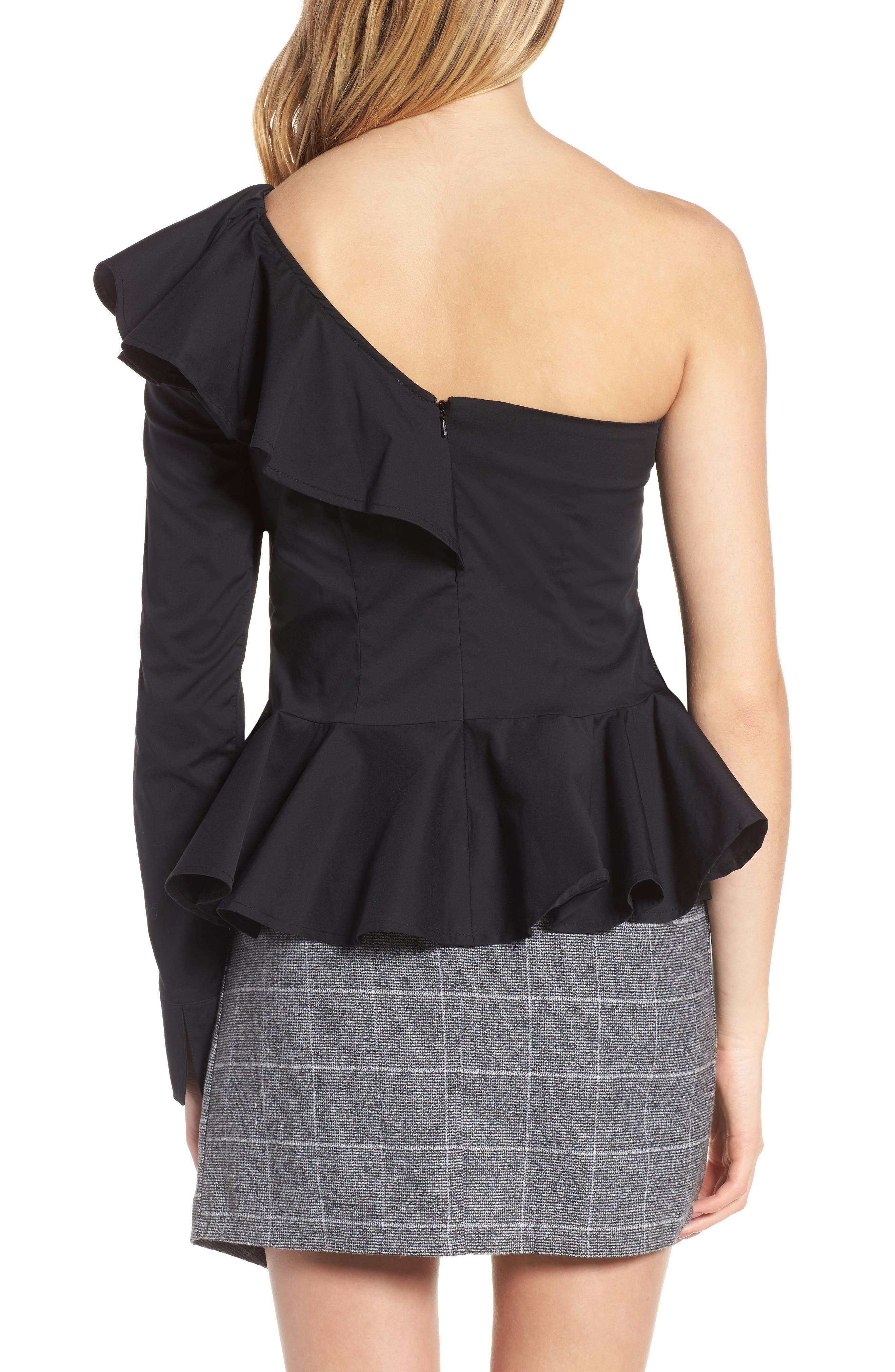 Ruffle One-Shoulder Blouse,                             Alternate thumbnail 2, color,                             Black
