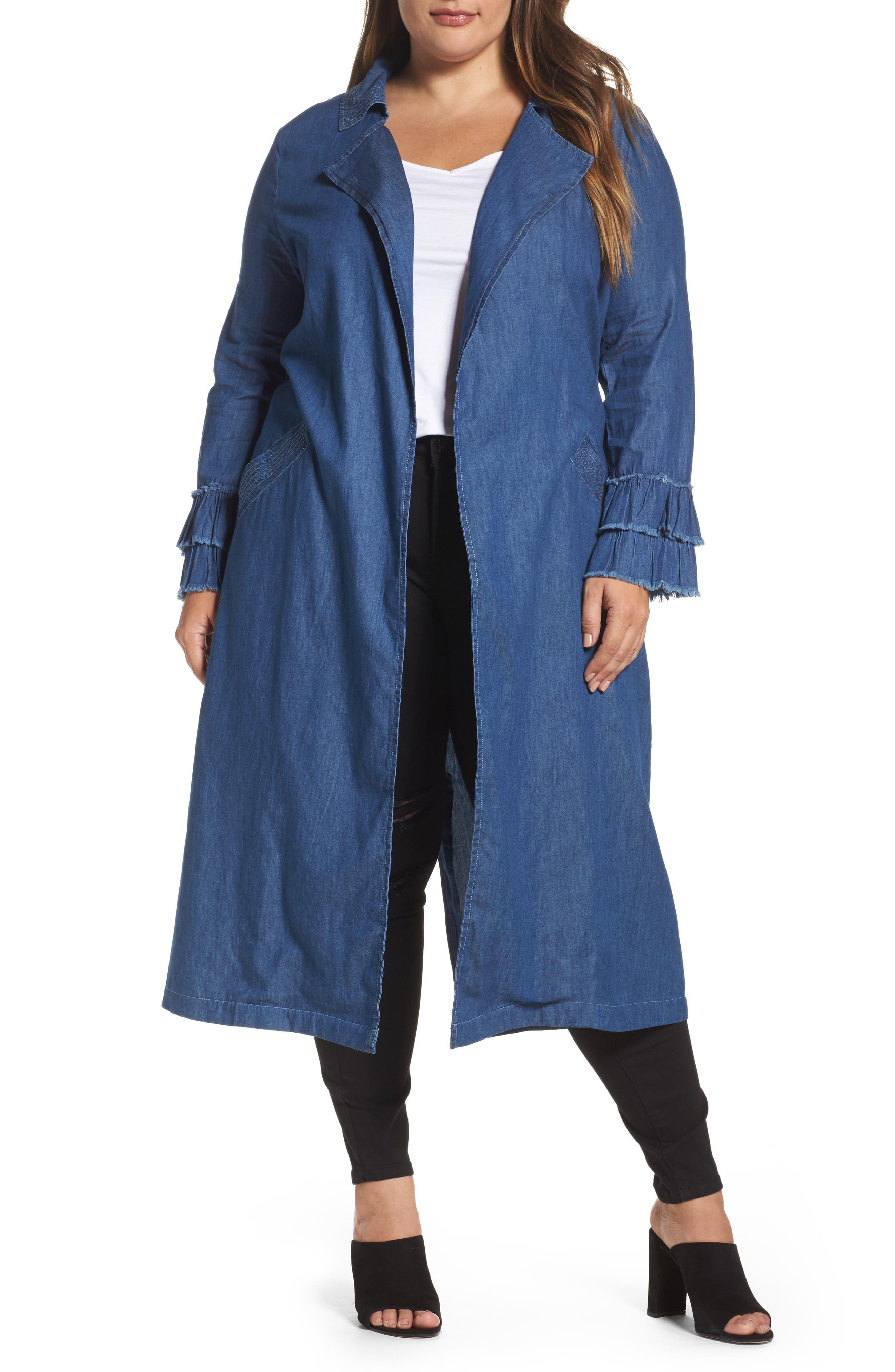 Main Image - ELVI Chambray Trench Coat (Plus Size)
