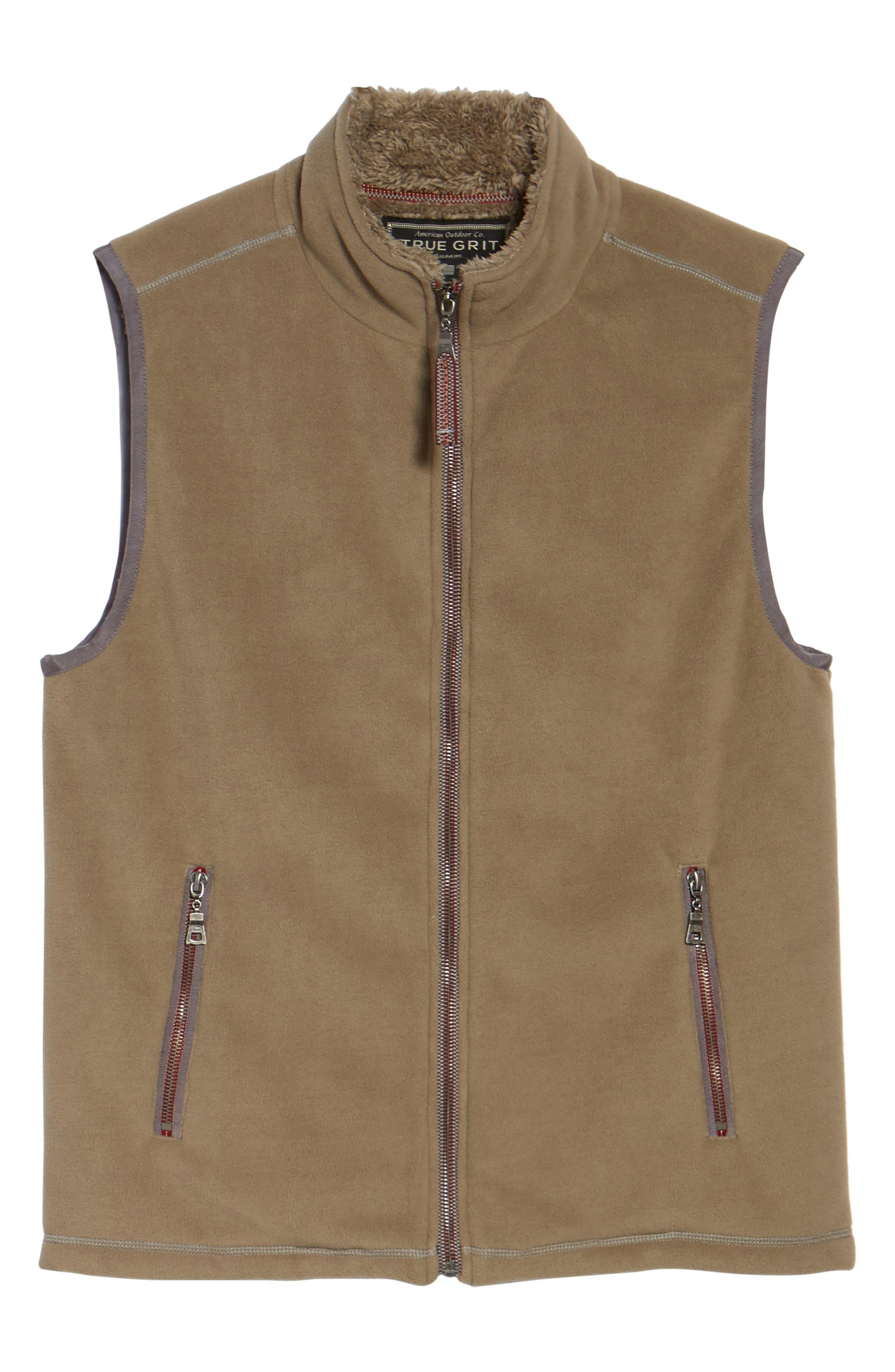 Fleece Vest with Faux Fur Lining,                             Alternate thumbnail 6, color,                             Gravel