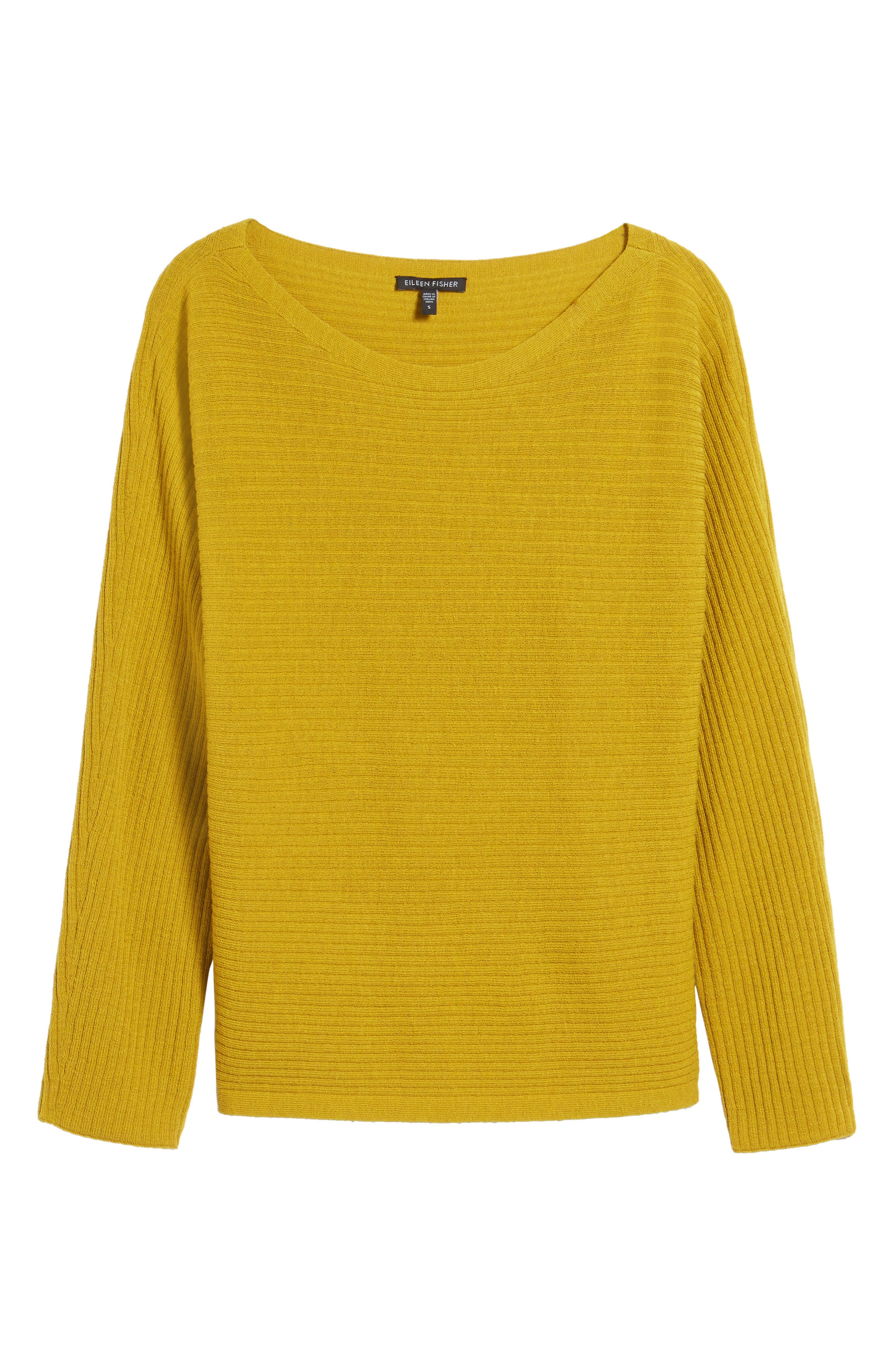 Boxy Ribbed Wool Sweater,                             Main thumbnail 1, color,                             Mustard Seed