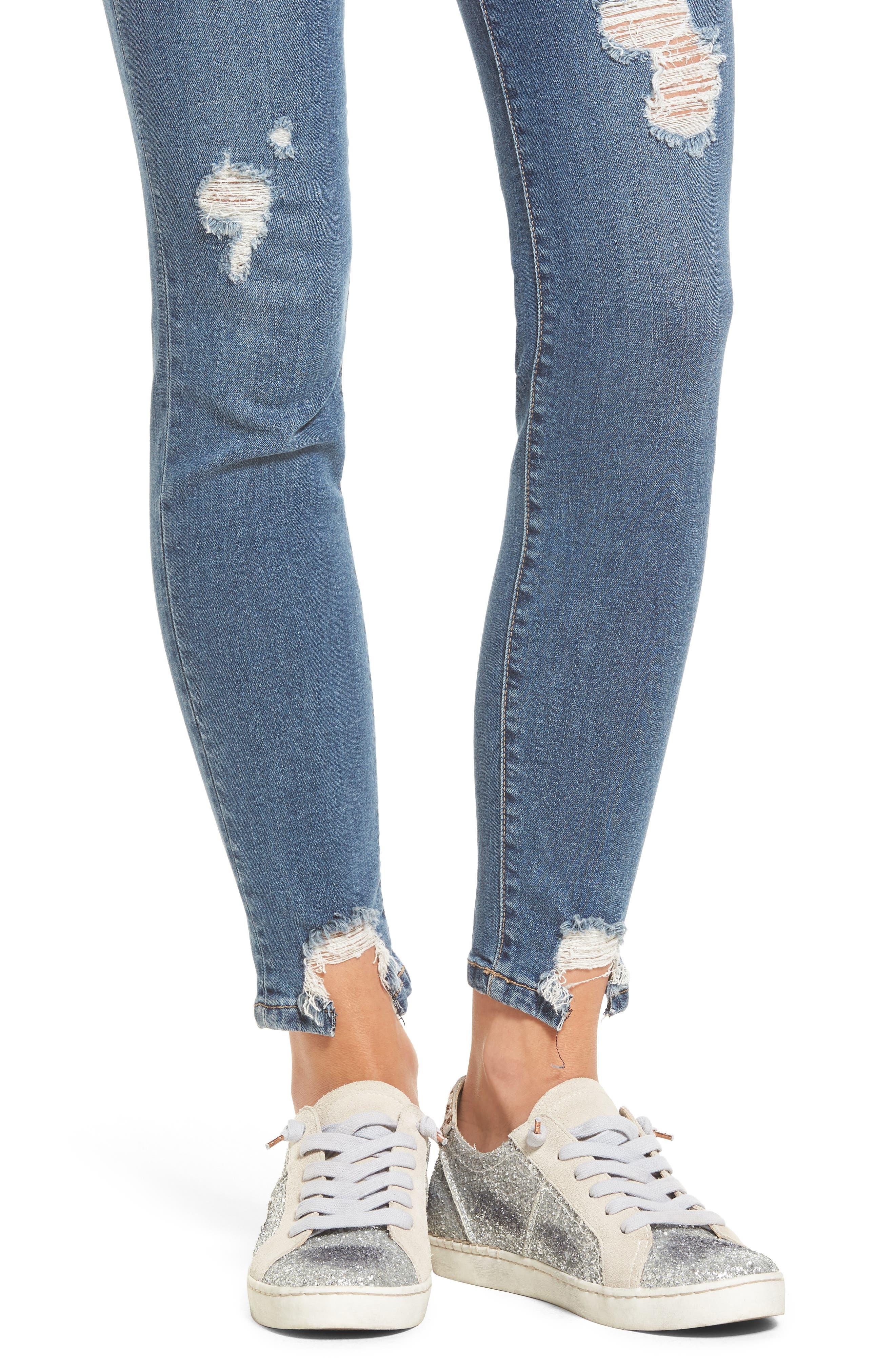 High Waist Step Hem Skinny Jeans,                             Alternate thumbnail 4, color,                             Medium