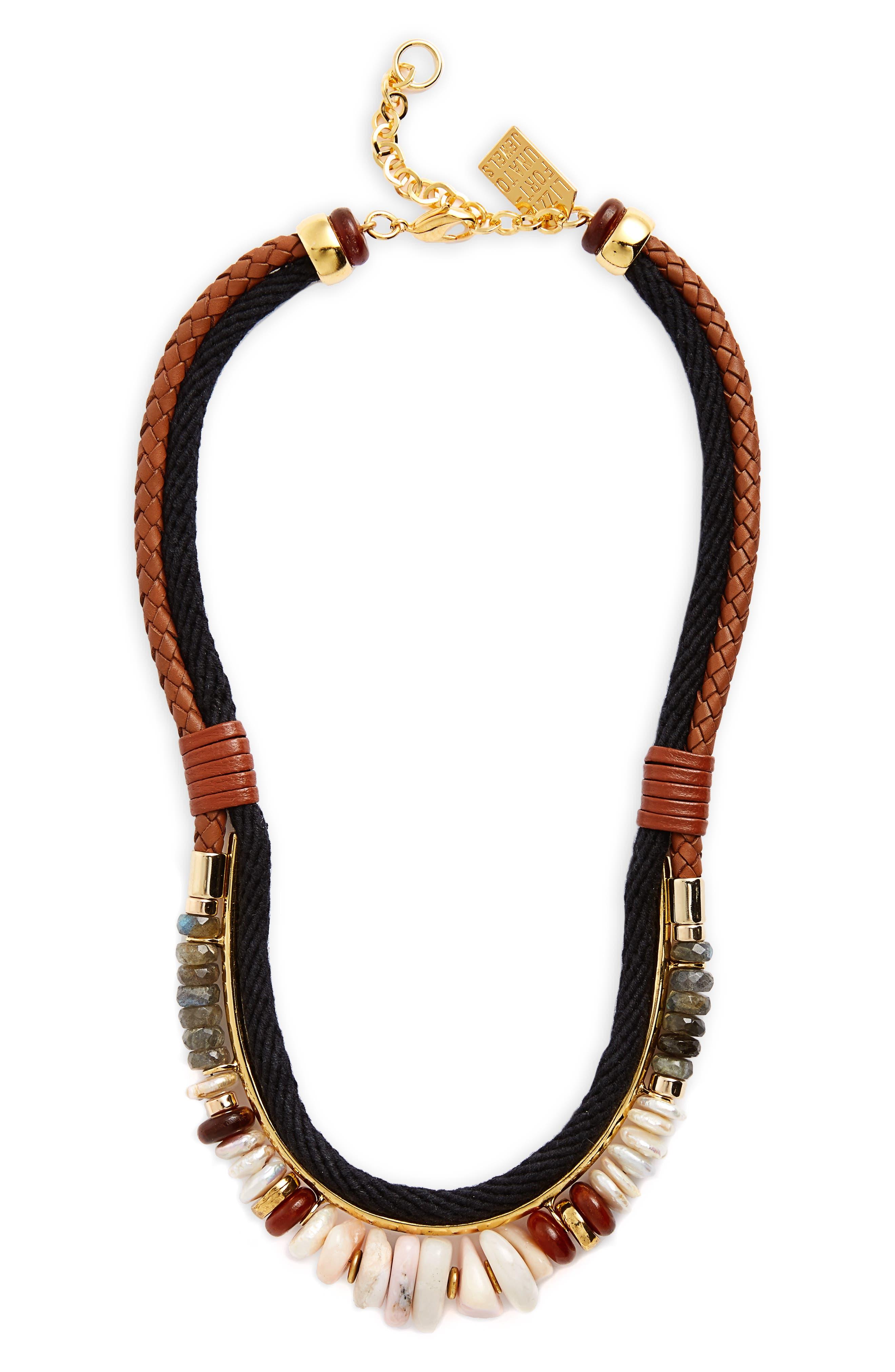 Sand Mesa Necklace,                         Main,                         color, Gold/ Black