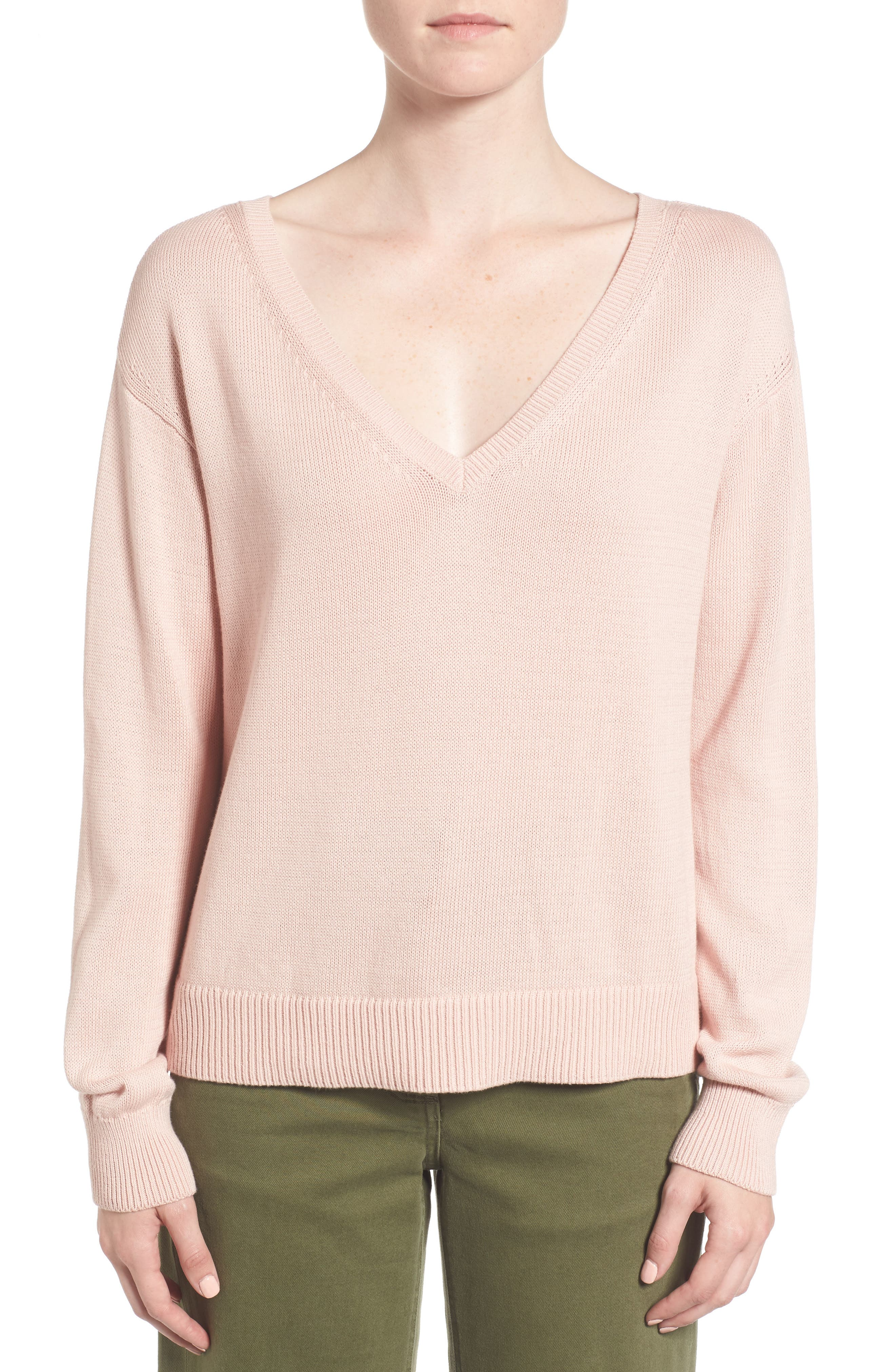 Alternate Image 1 Selected - Everlane The Cotton Long Sleeve V-Neck Crop Sweater