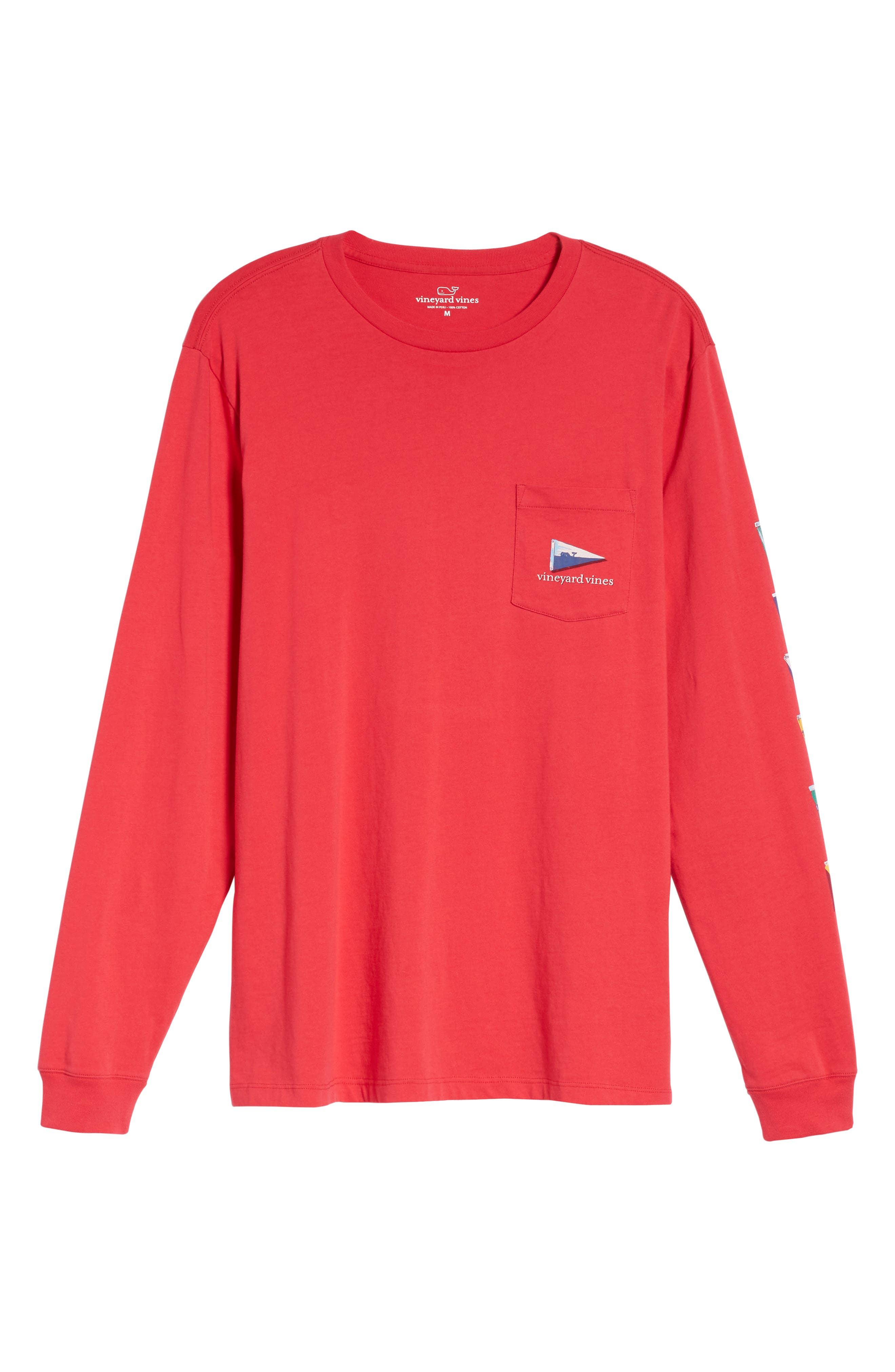 Coastal Burgees Long Sleeve Pocket T-Shirt,                             Alternate thumbnail 6, color,                             Barberry
