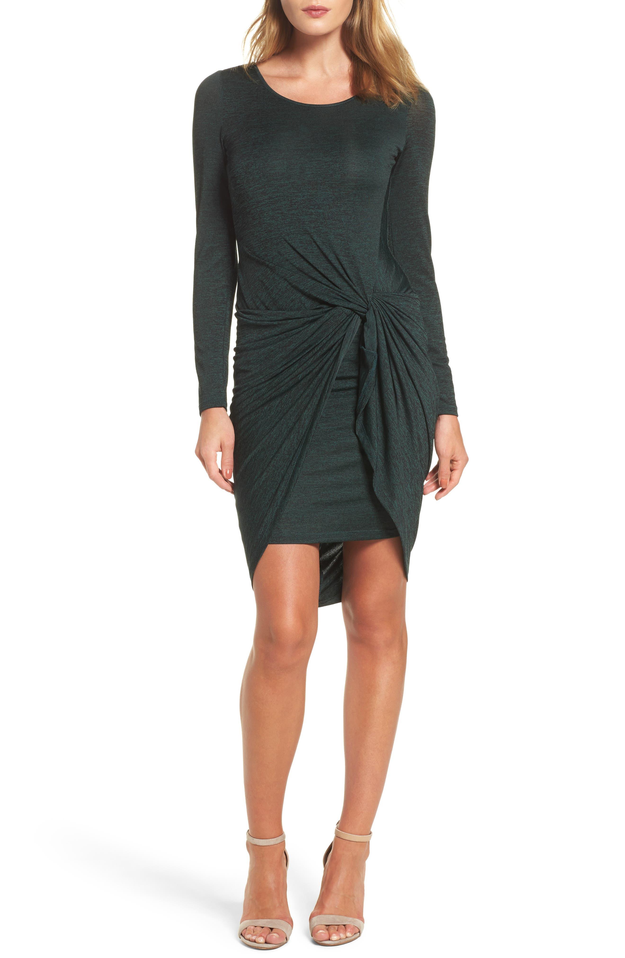 Jaspee Knot Midi Dress,                             Main thumbnail 1, color,                             Hunter Black