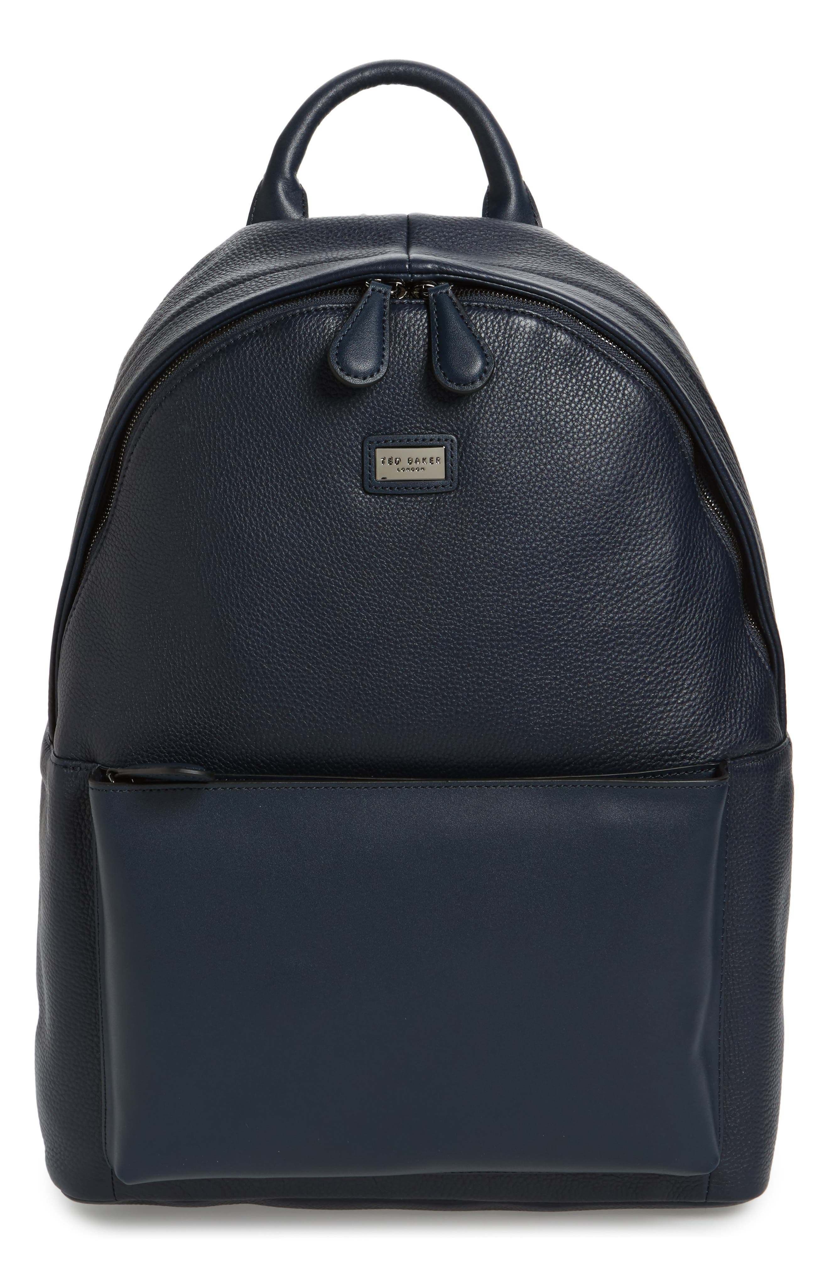 Leather Backpack,                         Main,                         color, Navy