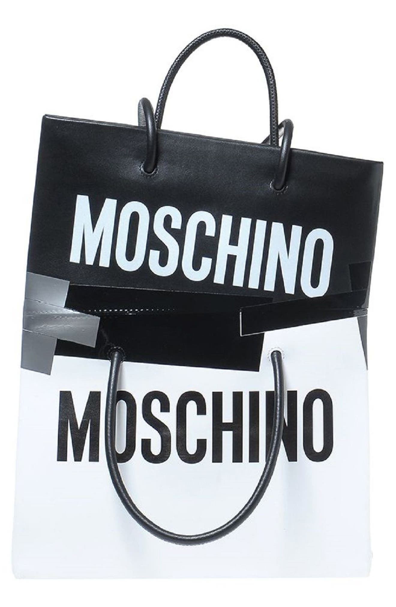 Alternate Image 1 Selected - Moschino Double Tape Leather Shopper