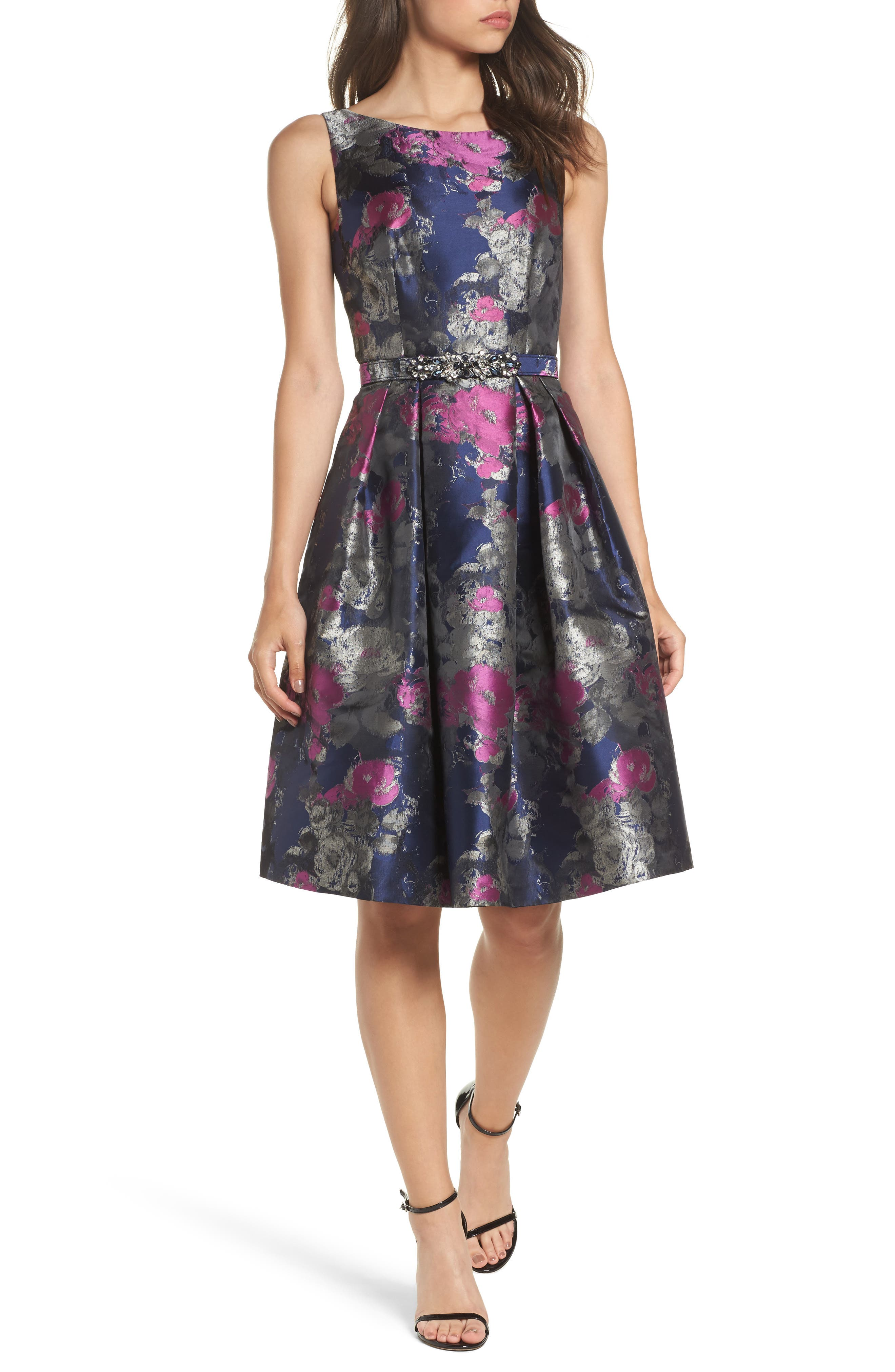 Jacquard Fit & Flare Dress,                             Main thumbnail 1, color,                             Navy/ Malbec