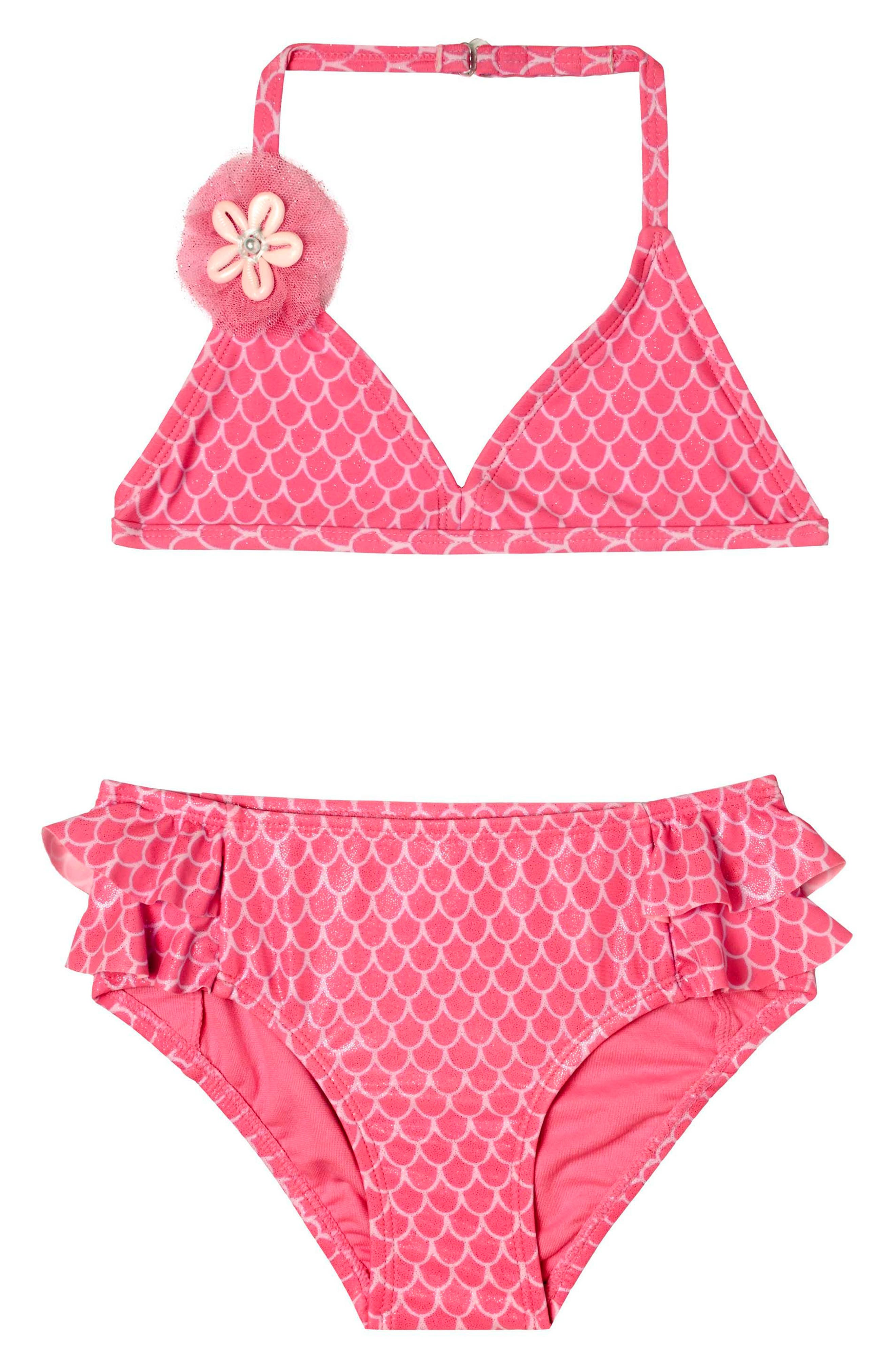 Mermaid Princess Two-Piece Swimsuit,                         Main,                         color, Pink