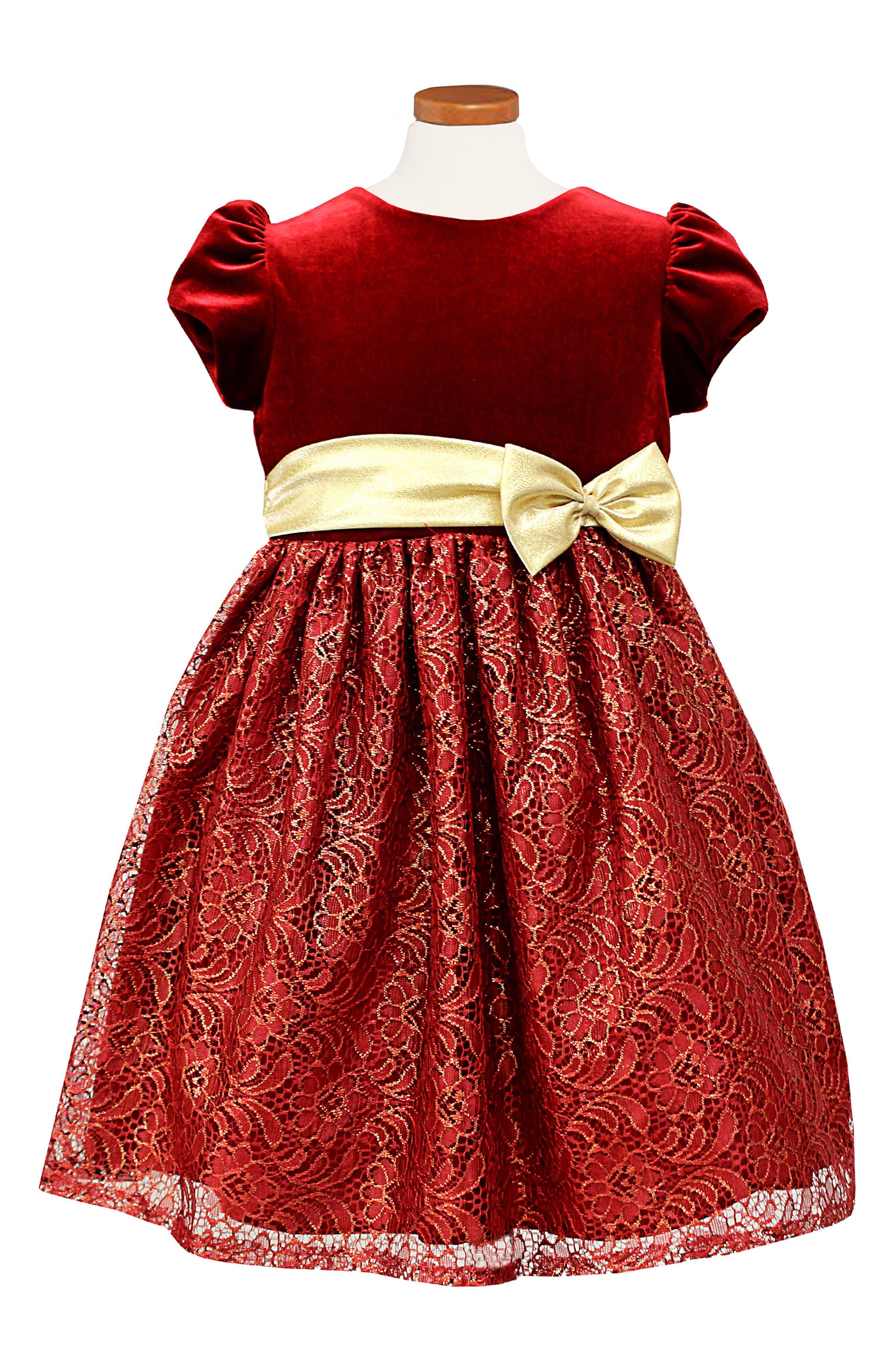 Velvet & Lace Dress,                         Main,                         color, Red