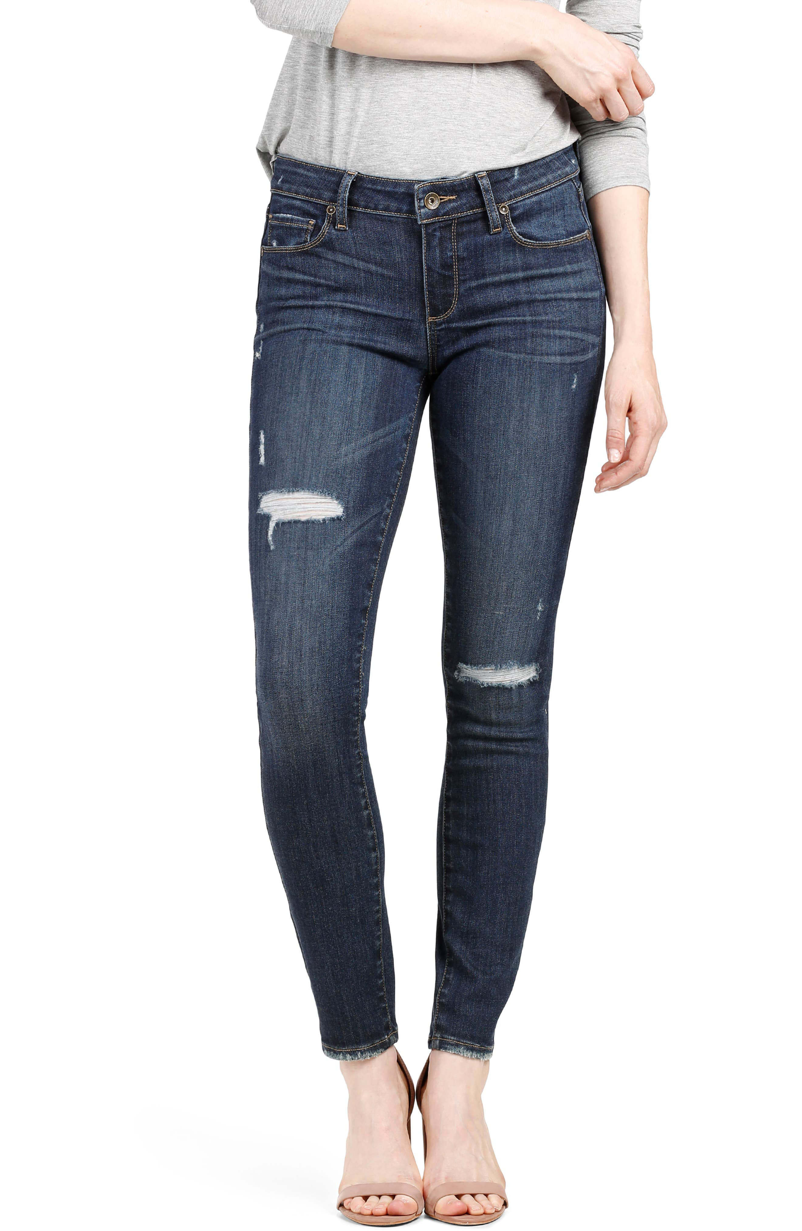 Transcend Vintage - Hoxton Ankle Skinny Jeans,                             Alternate thumbnail 3, color,                             Cleary Destructed