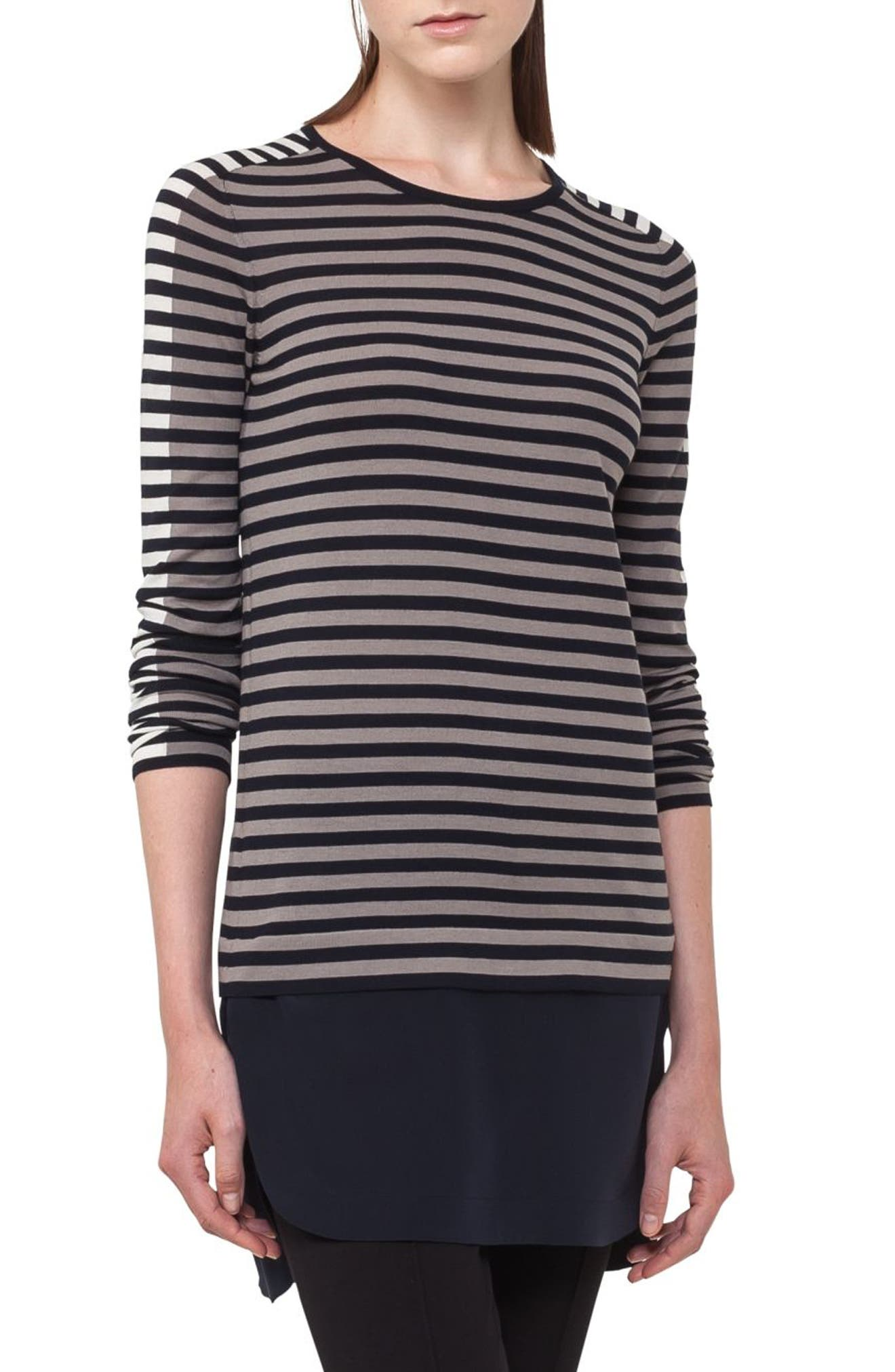 Multicolor Stripe Wool Pullover,                             Main thumbnail 1, color,                             Navy/ Taupe/ Cream