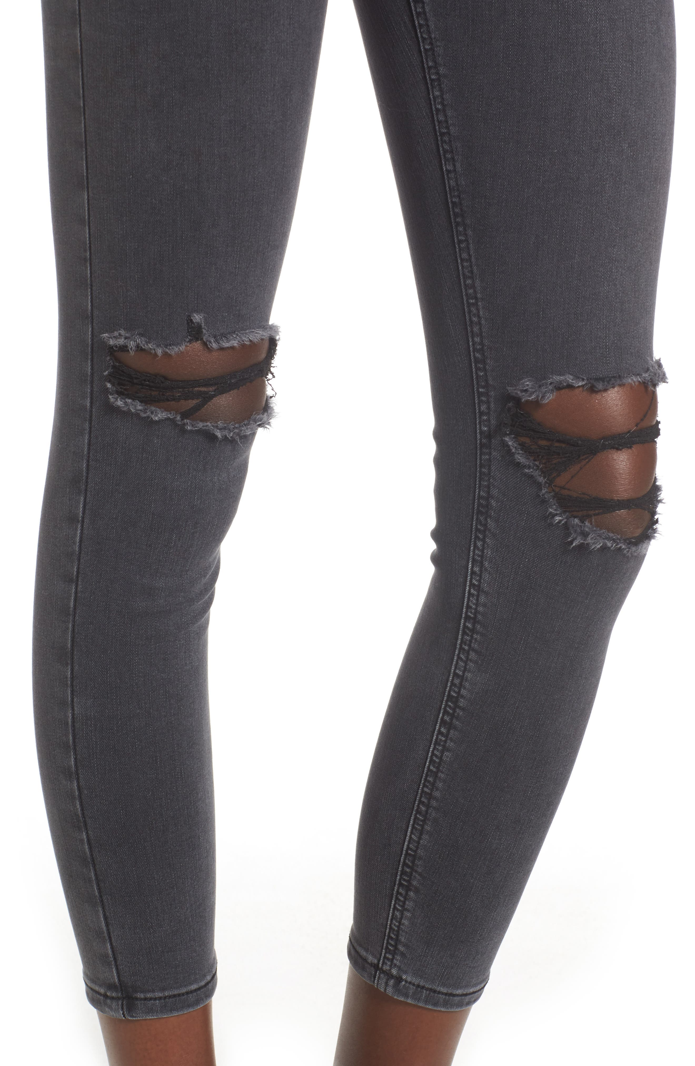 Joni Ripped Crop Skinny Jeans,                             Alternate thumbnail 4, color,                             Washed Black