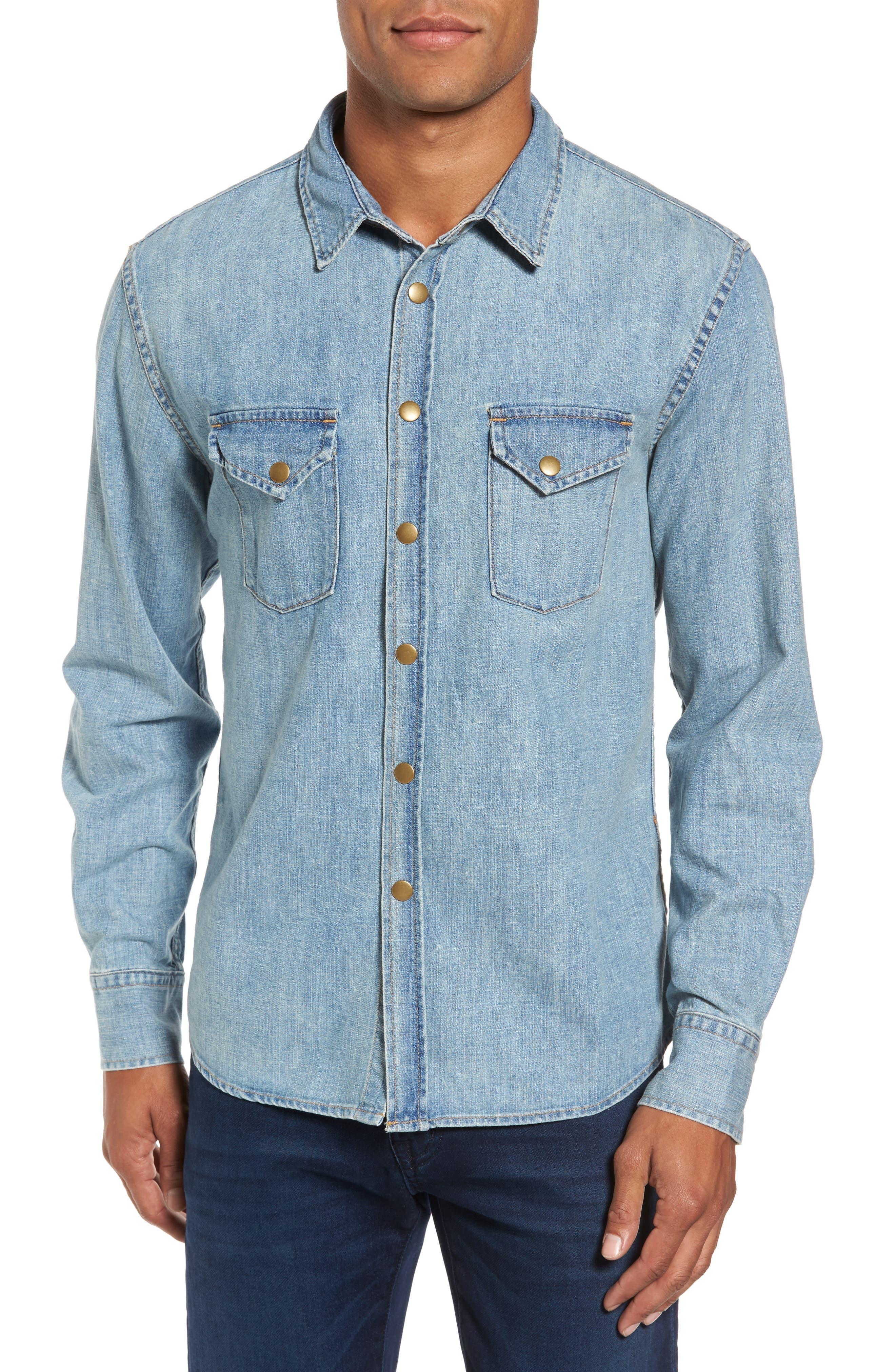 Distressed Denim Western Shirt,                         Main,                         color, Denim Wash