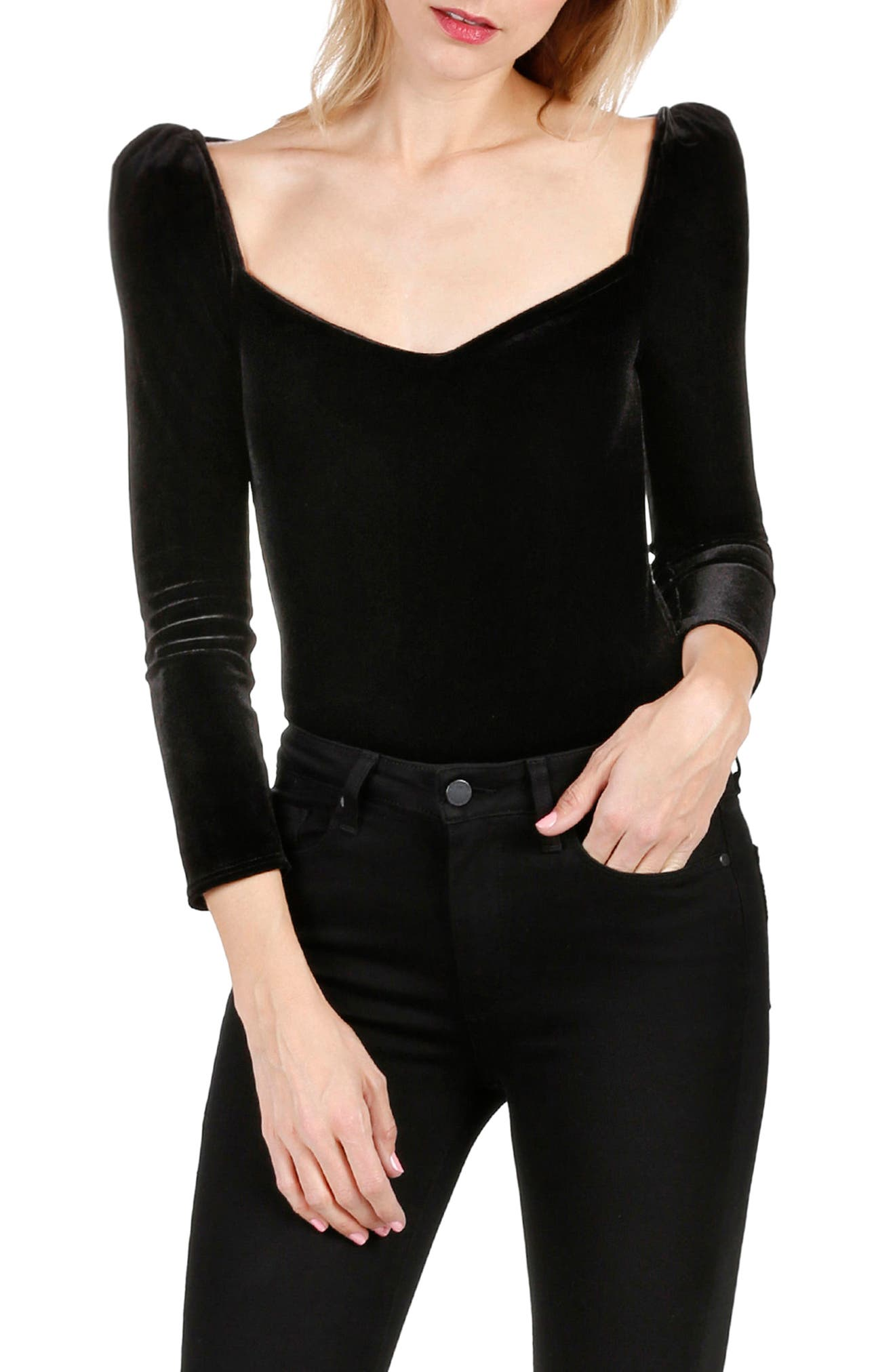 Delsie Stretch Velvet Bodysuit,                             Alternate thumbnail 3, color,                             Black