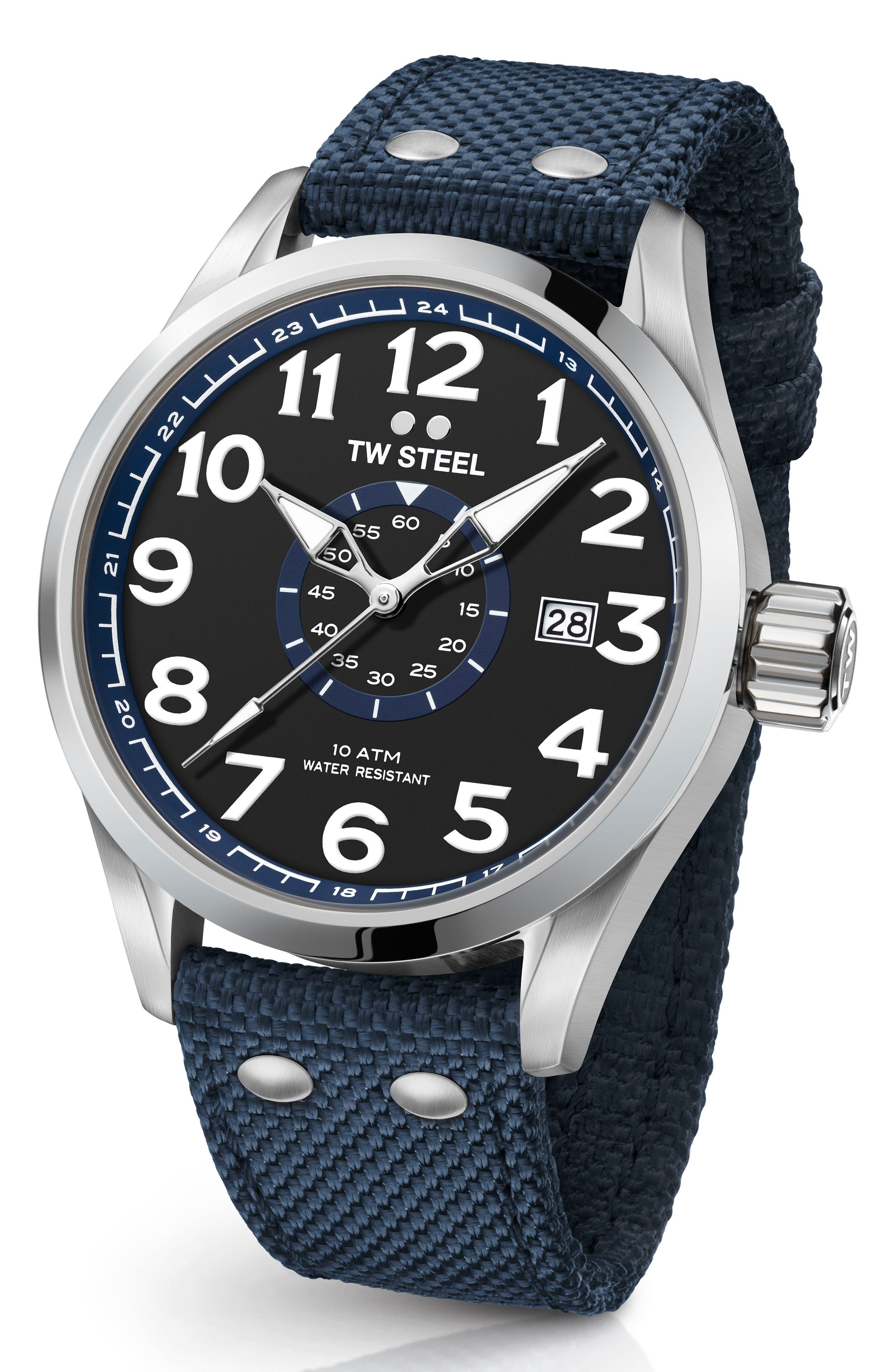 Volante Textile Strap Watch, 45mm,                         Main,                         color, Blue/ Black/ Silver