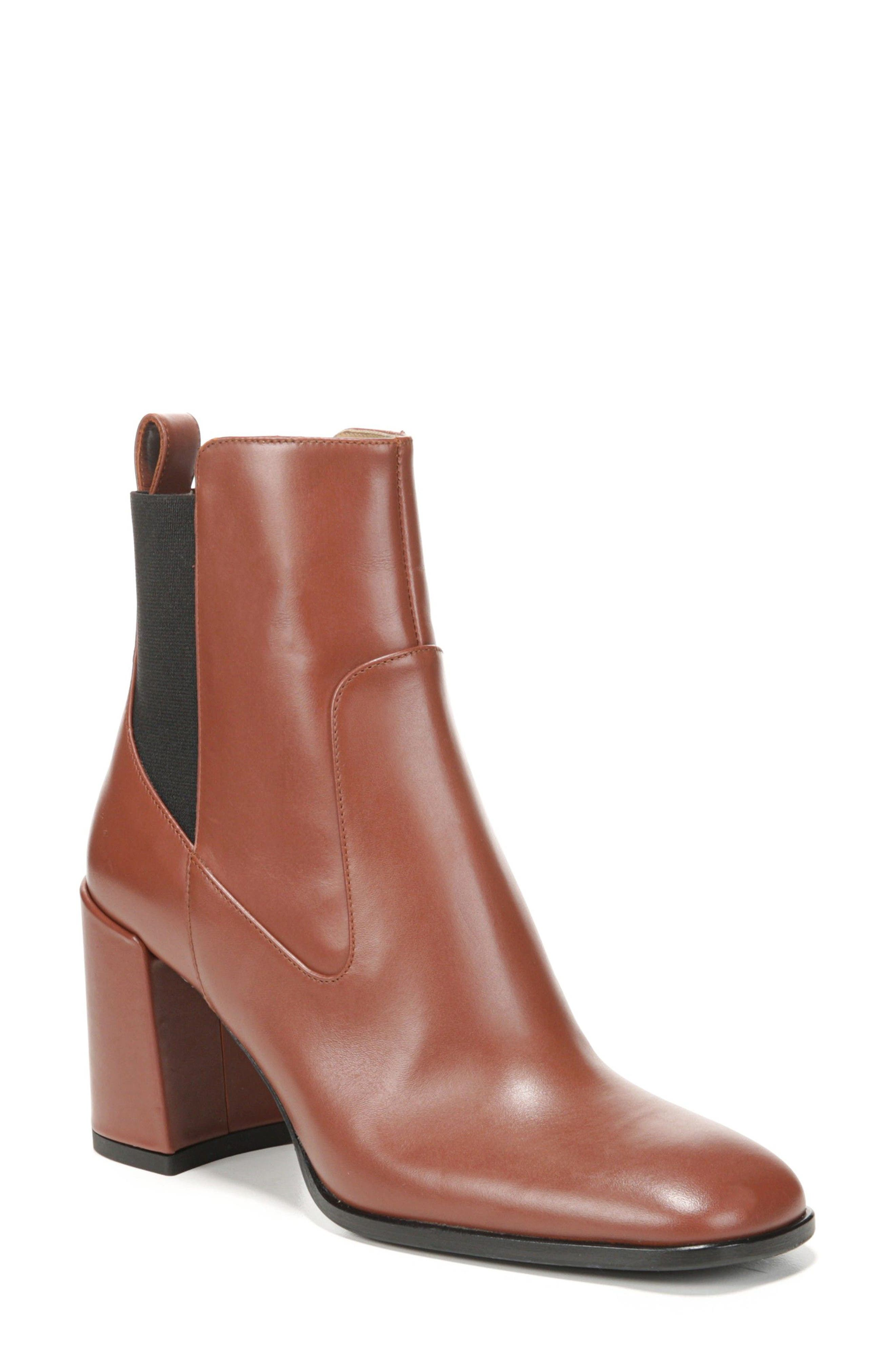 Delaney Block Heel Bootie,                             Main thumbnail 1, color,                             Warm Chestnut Leather