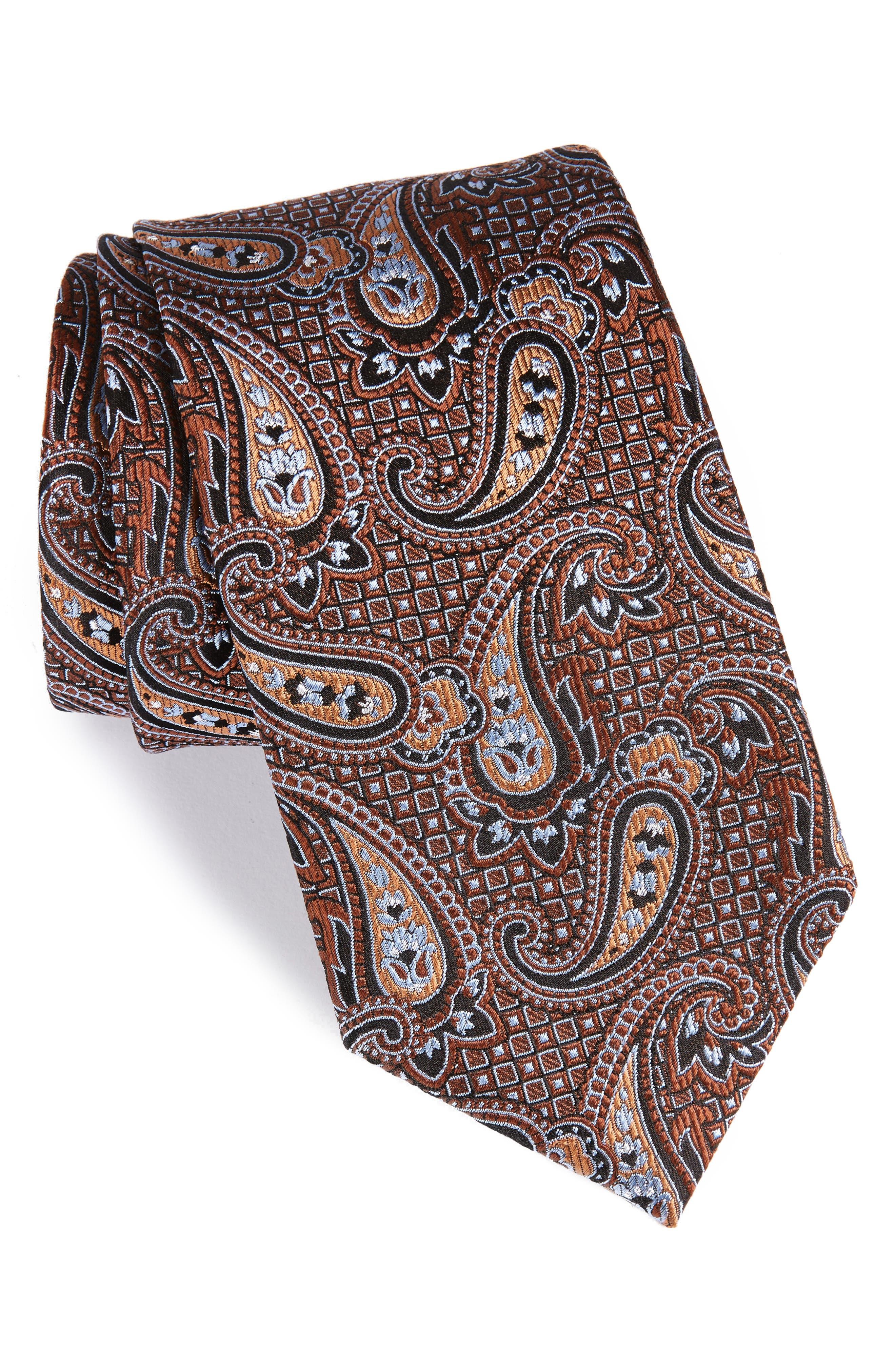 Paisley Silk Tie,                         Main,                         color, Brown
