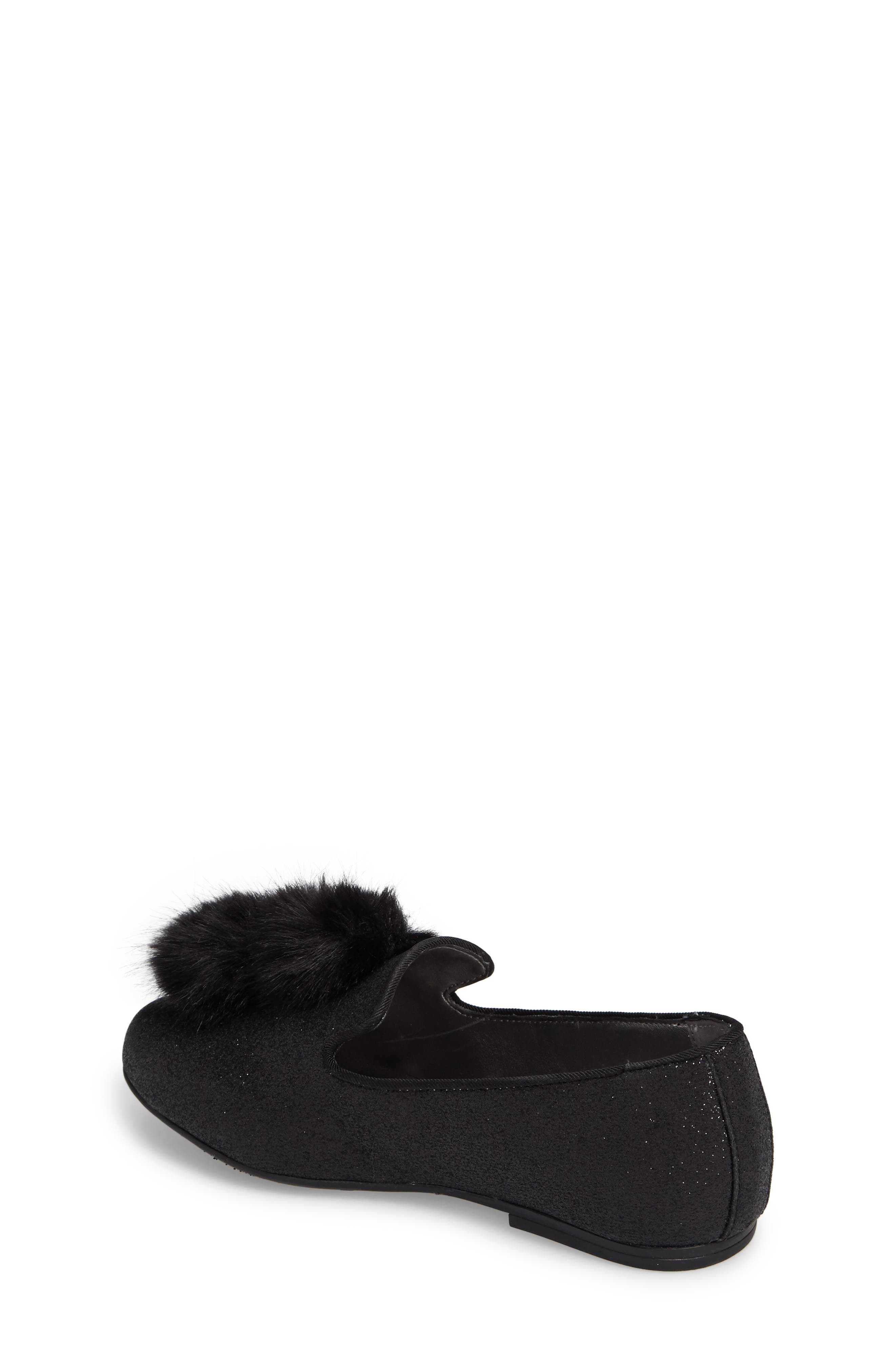 Caela Faux Fur Loafer,                             Alternate thumbnail 2, color,                             Black Glitter