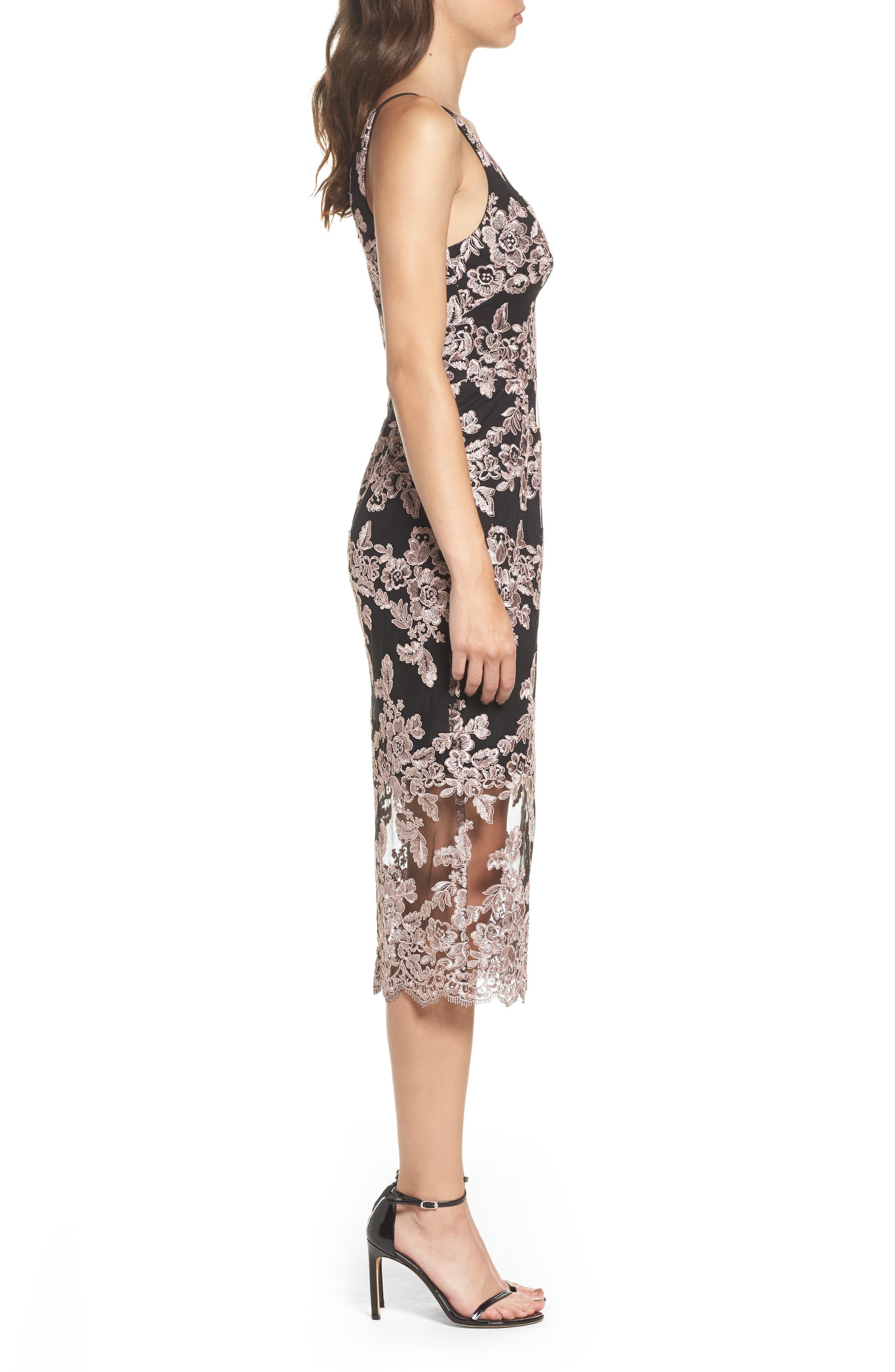 Plunge Lace Midi Dress,                             Alternate thumbnail 3, color,                             Black/ Mauve