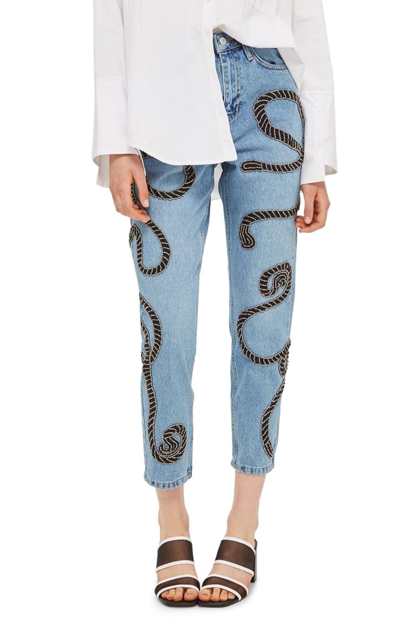Topshop Rope Embellished Mom Jeans