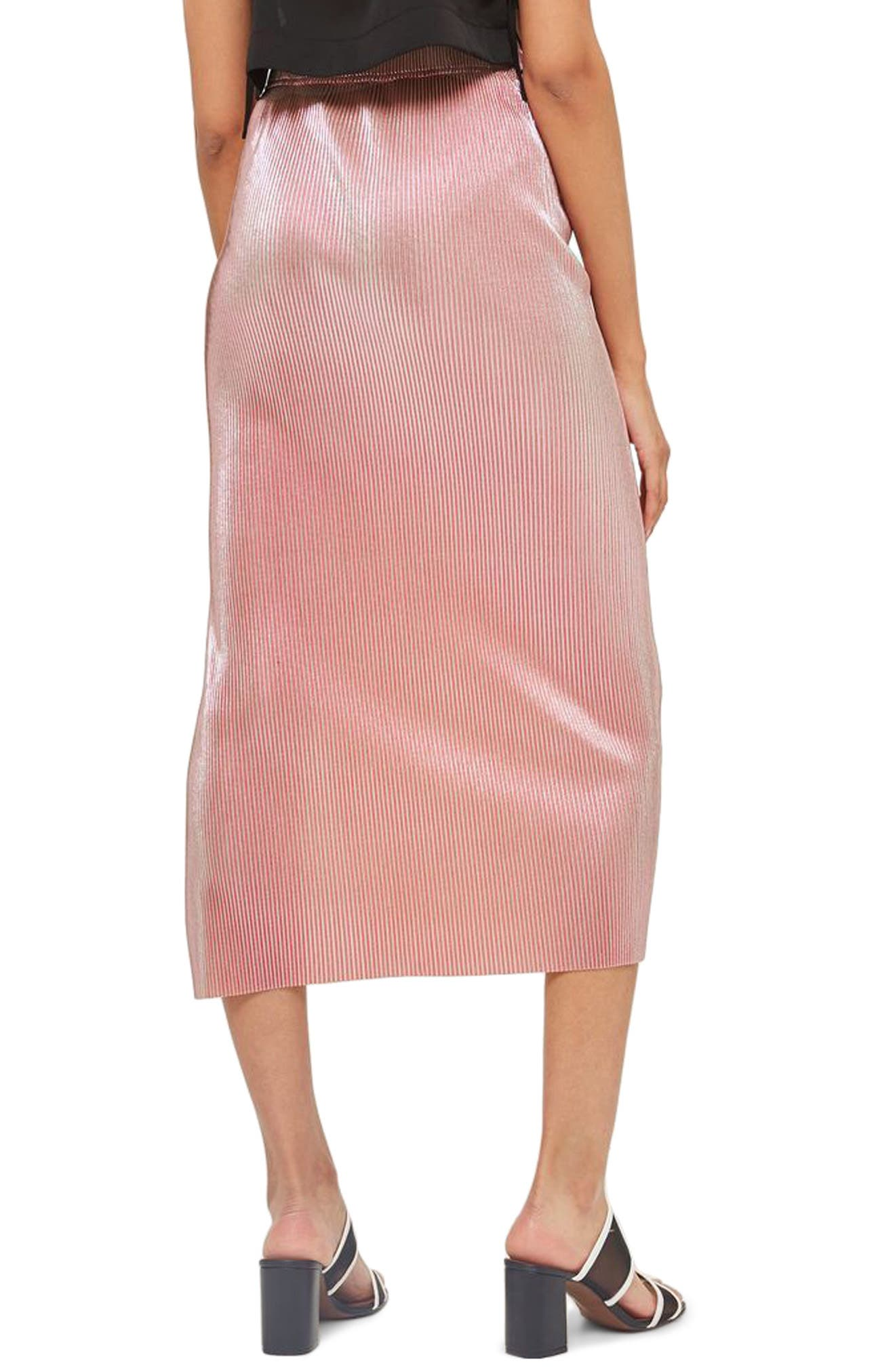 Alternate Image 2  - Topshop Plissé Pleated Midi Skirt
