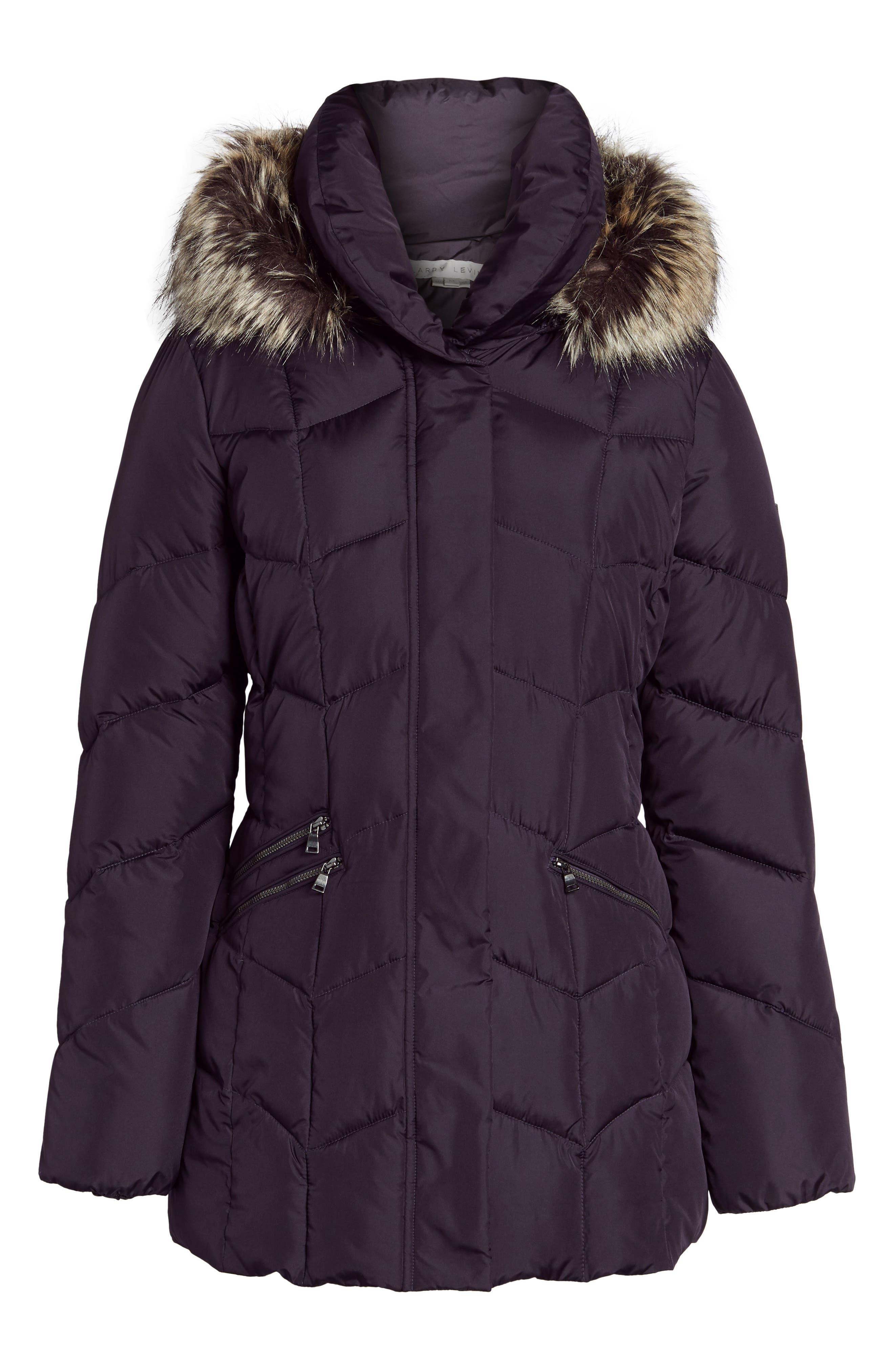 Alternate Image 6  - Larry Levine Quilted Coat with Faux Fur Trim
