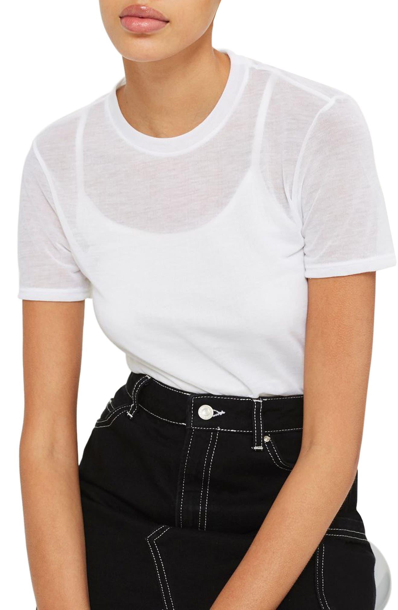 Main Image - Topshop Sheer T-Shirt Bodysuit