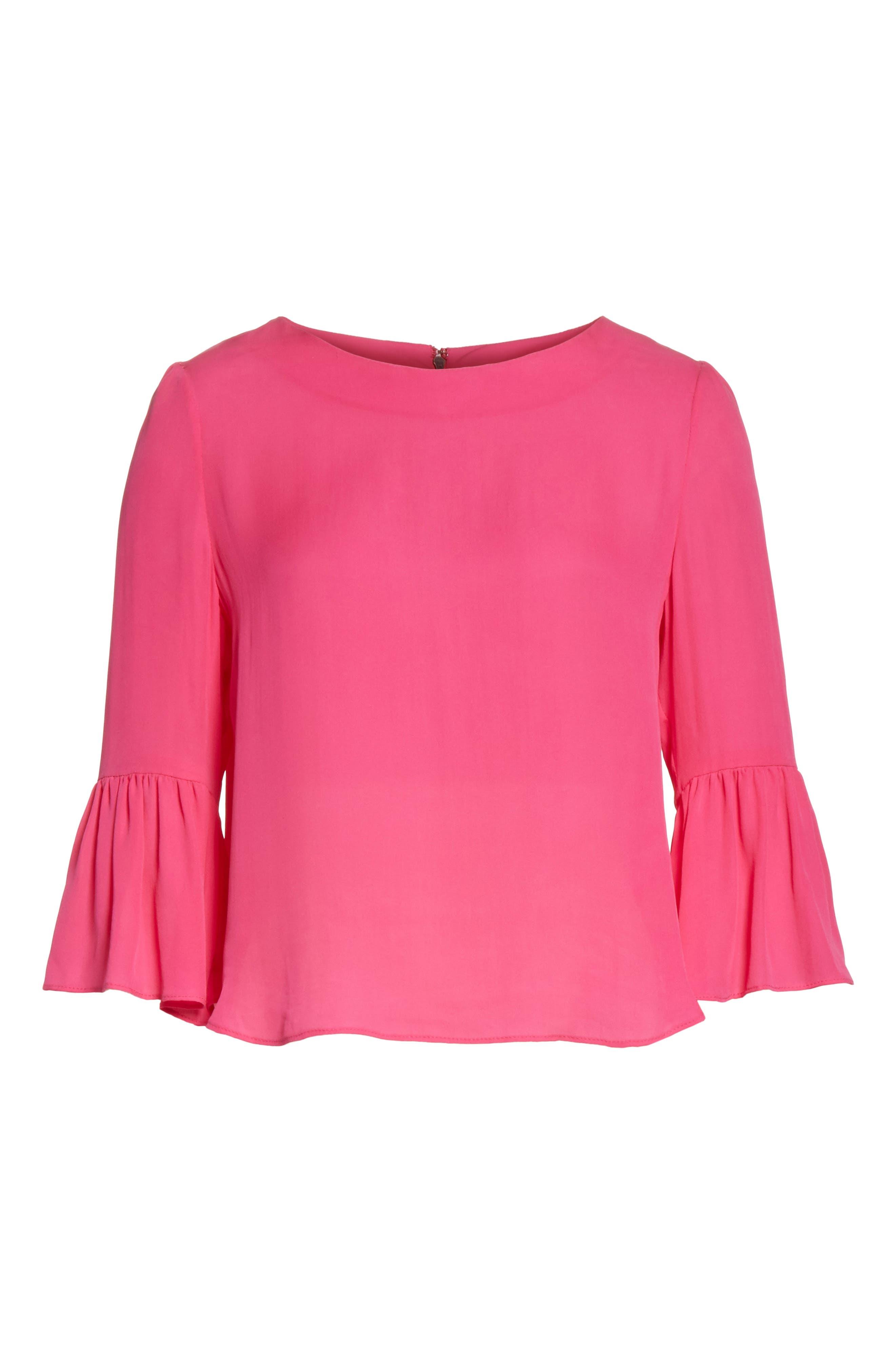 Bernice Ruffle Sleeve Silk Top,                             Alternate thumbnail 6, color,                             Fuchsia