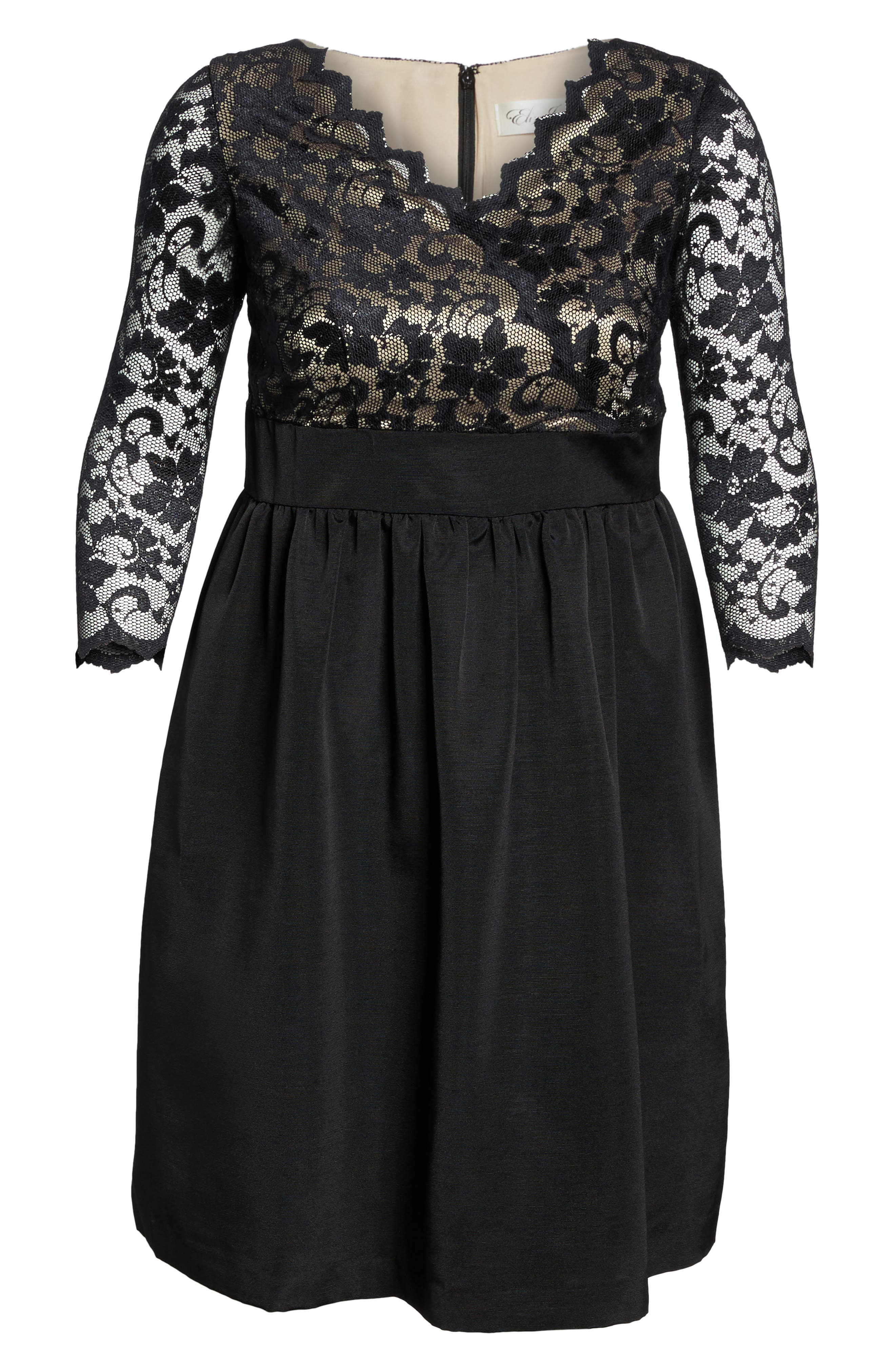 Eliza J Lace & Faille Dress (Plus Size)