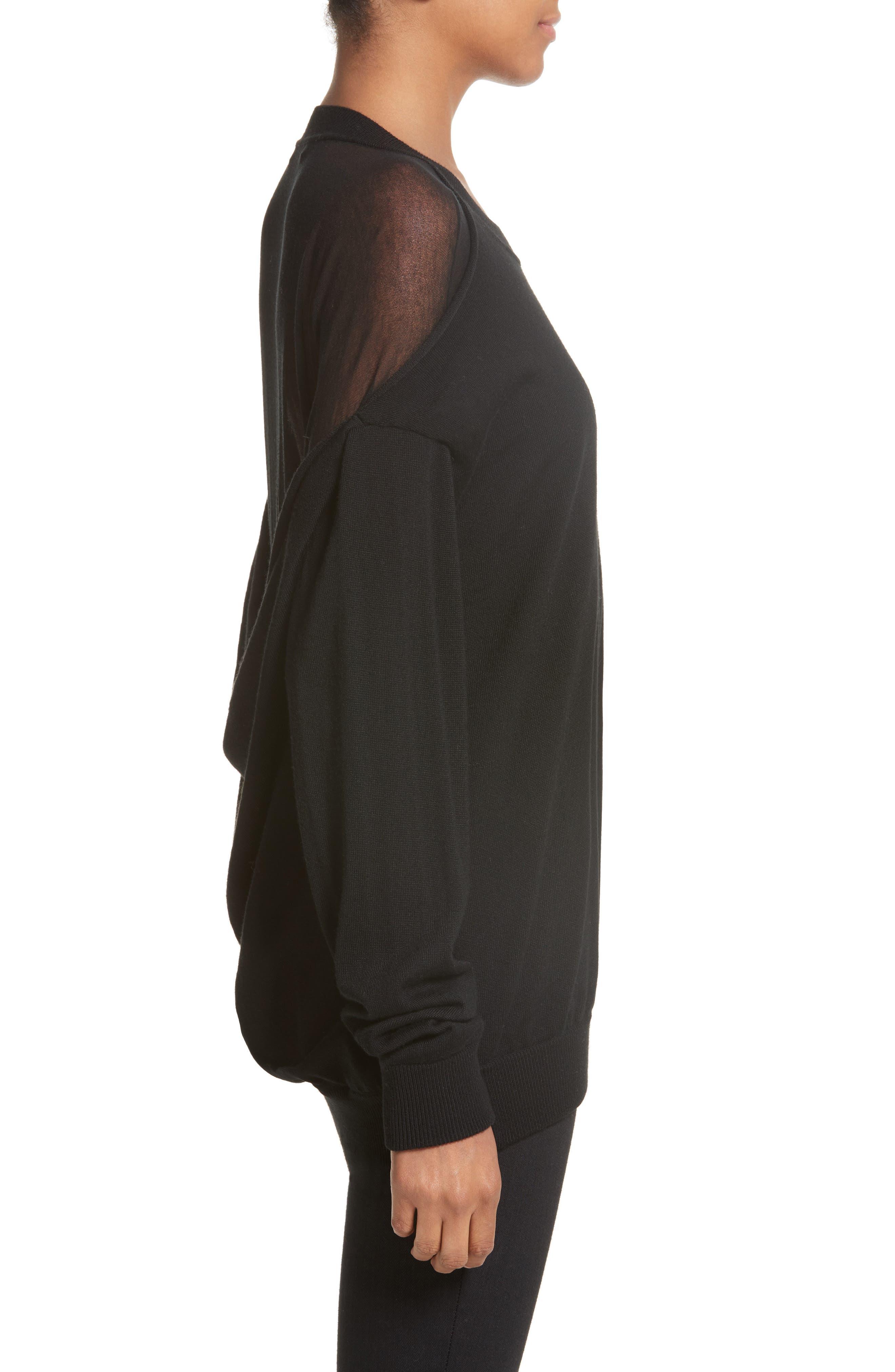 Drape Back Merino Wool Sweater,                             Alternate thumbnail 3, color,                             Black
