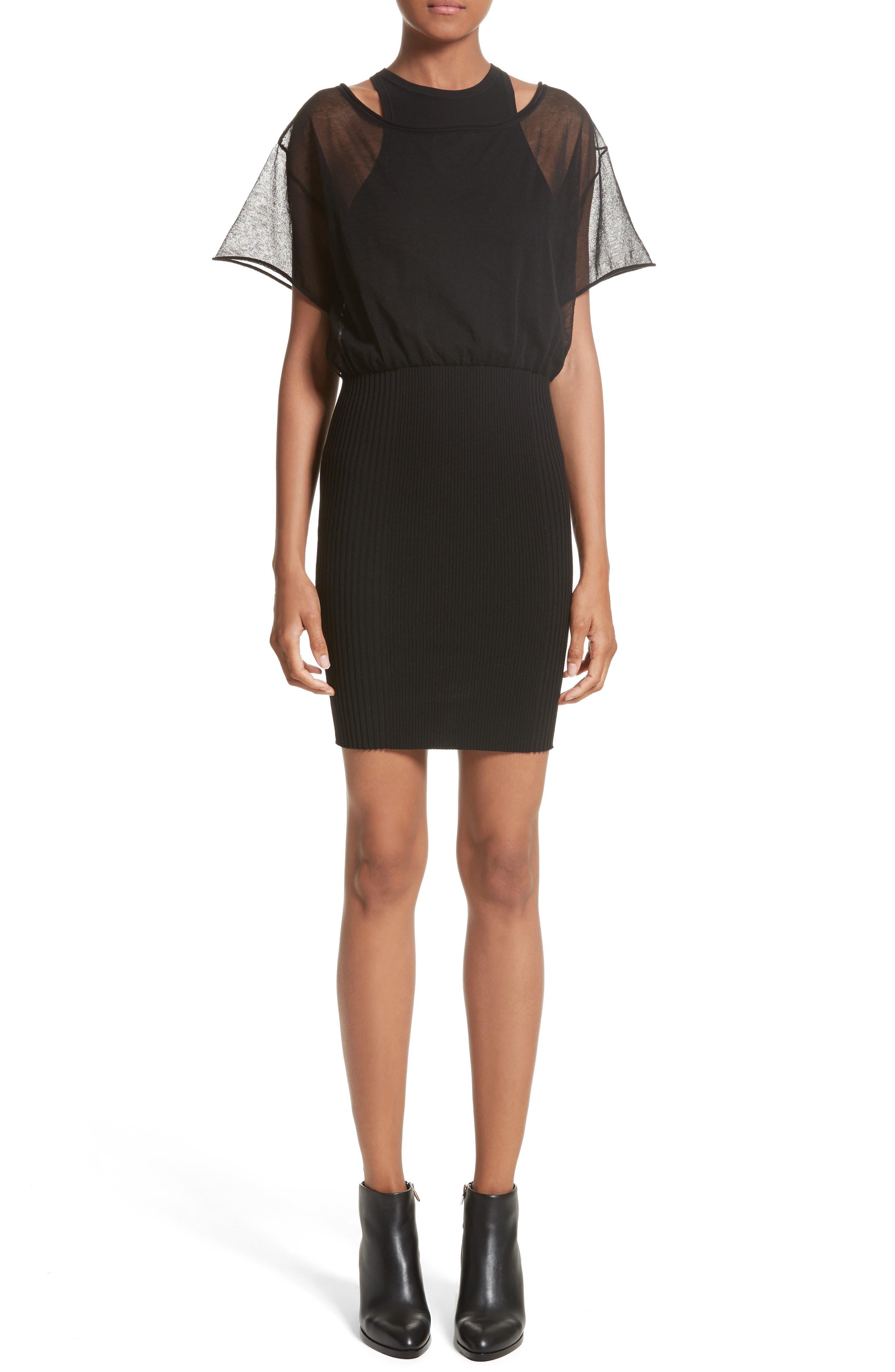 Sheer Popover Knit Dress,                         Main,                         color, Black