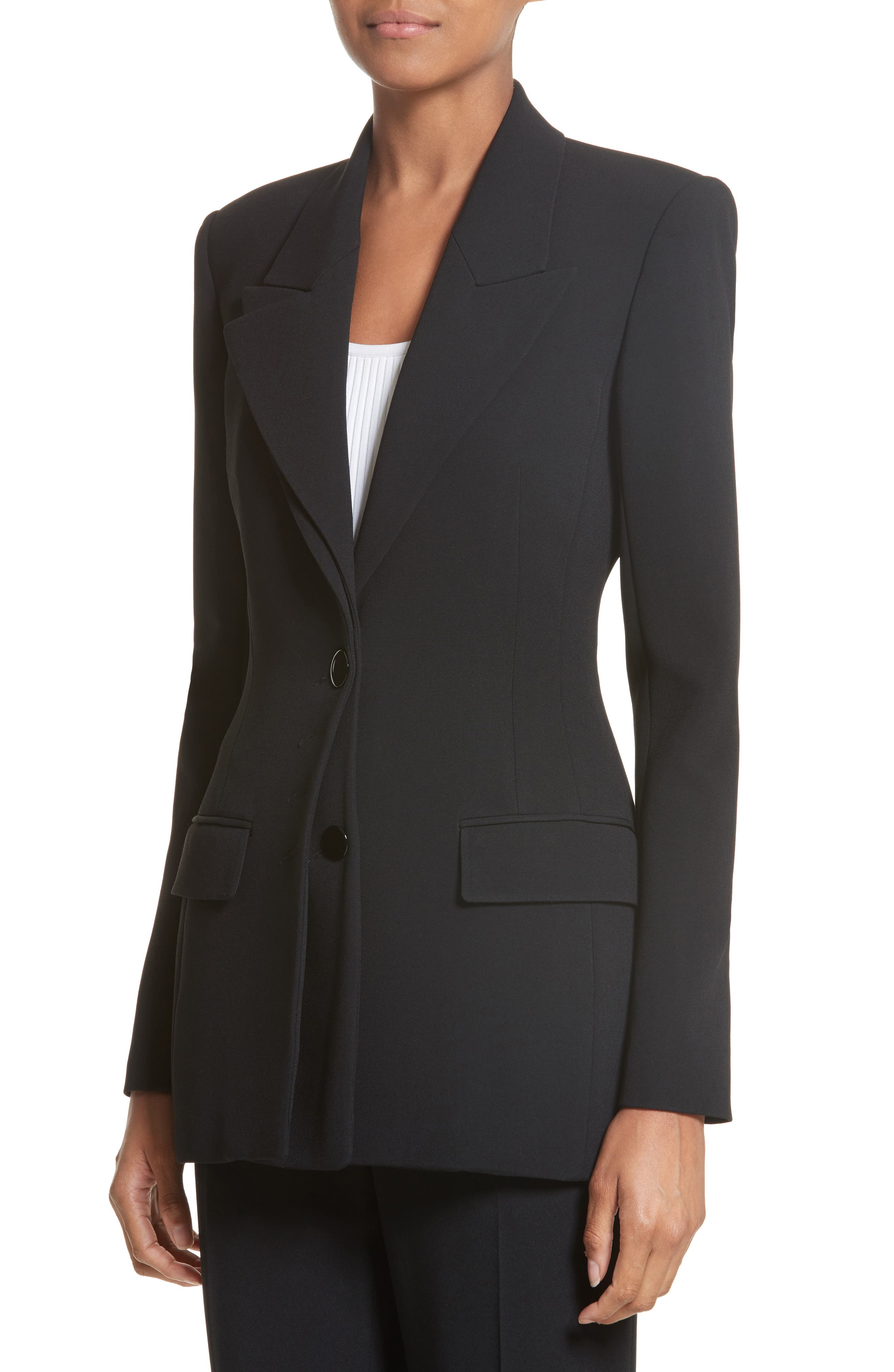 Multi Button Jacket,                             Alternate thumbnail 3, color,                             Black