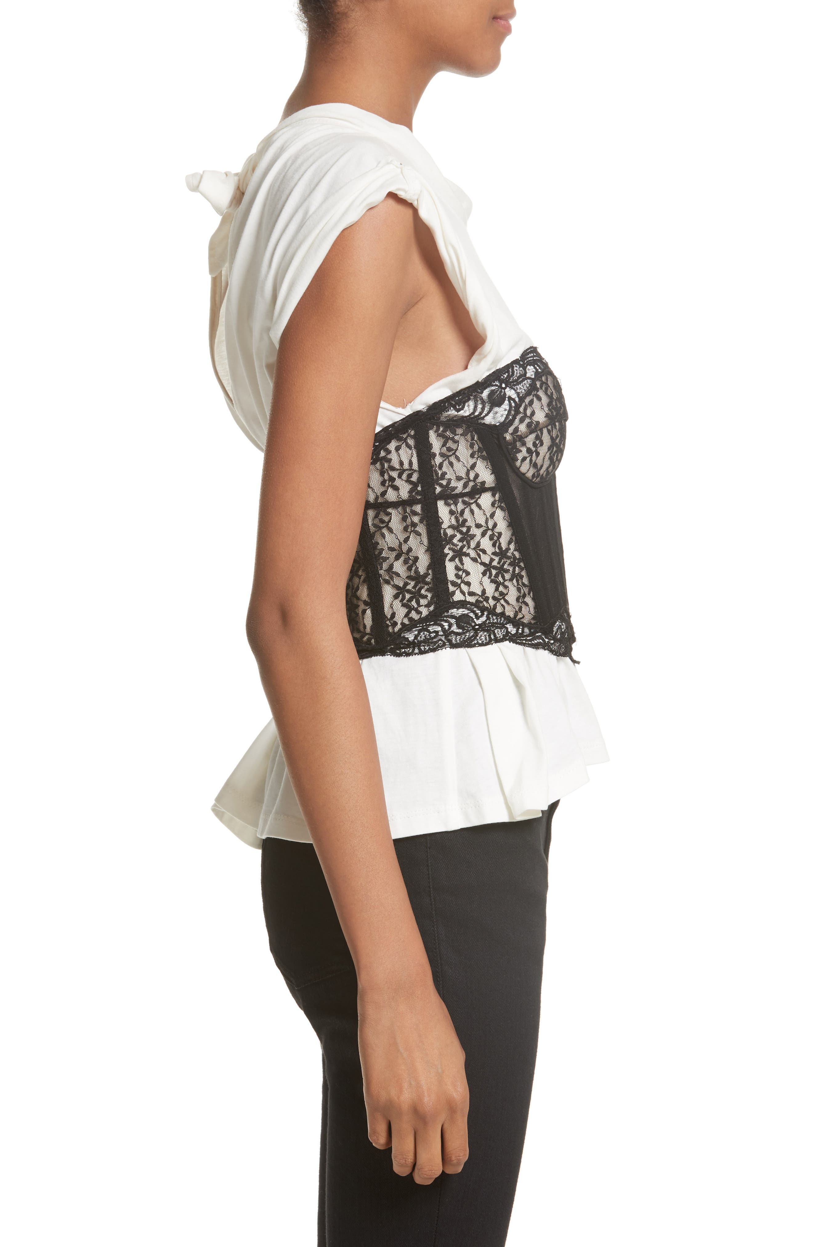 Cotton Top with Lace Bustier,                             Alternate thumbnail 3, color,                             Ivory