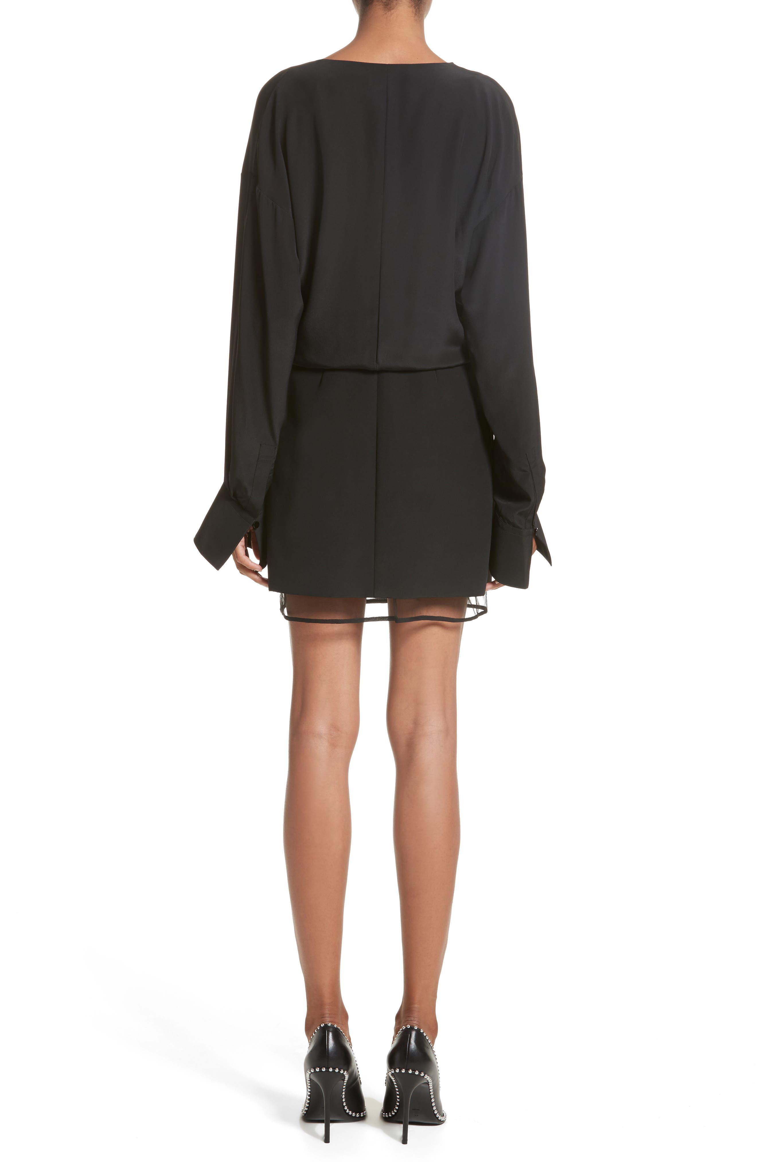 Tulle Lined Minidress,                             Alternate thumbnail 2, color,                             Black