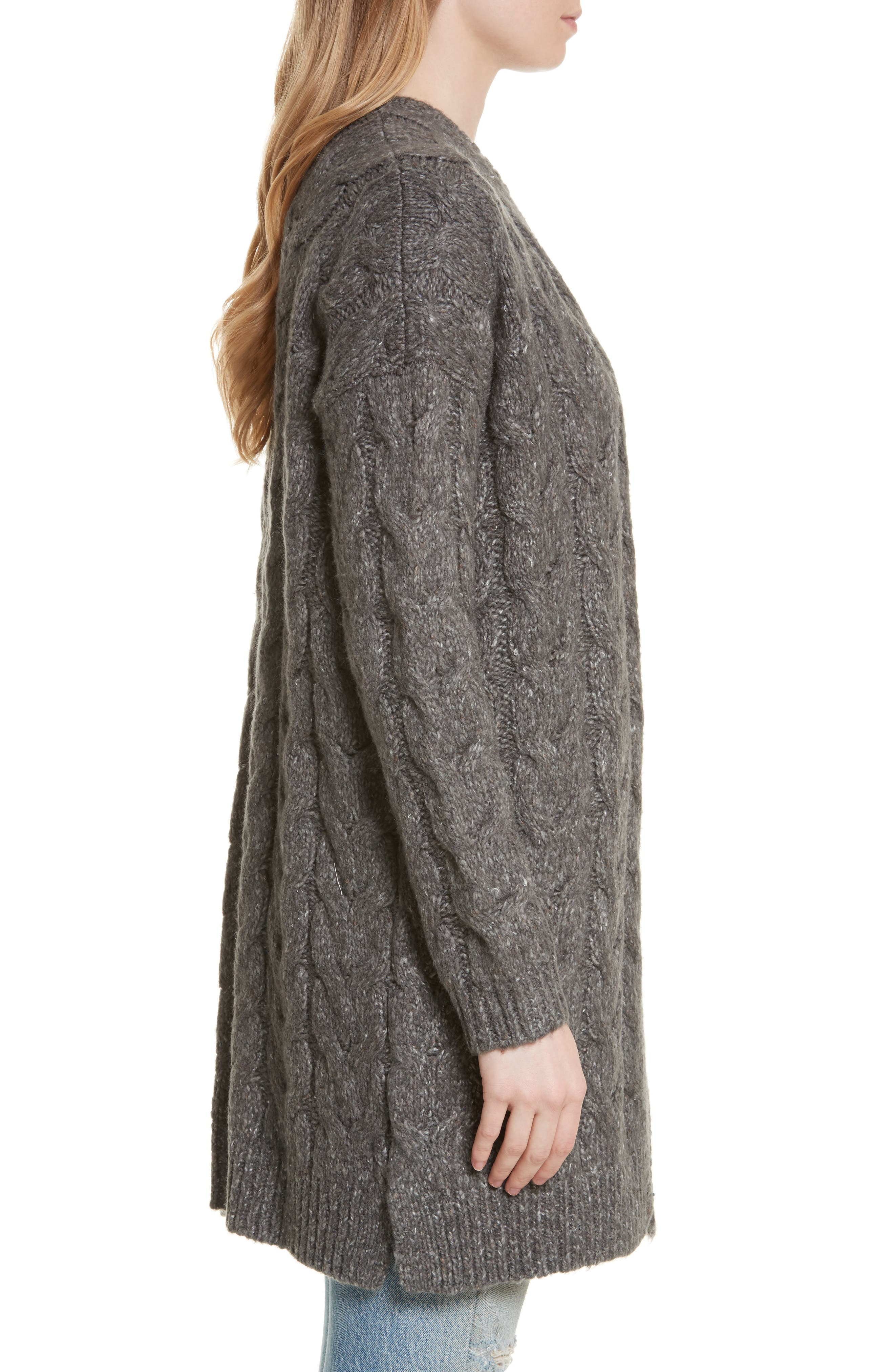 Tienna Cable-Knit Cardigan,                             Alternate thumbnail 3, color,                             Dark Heather Grey