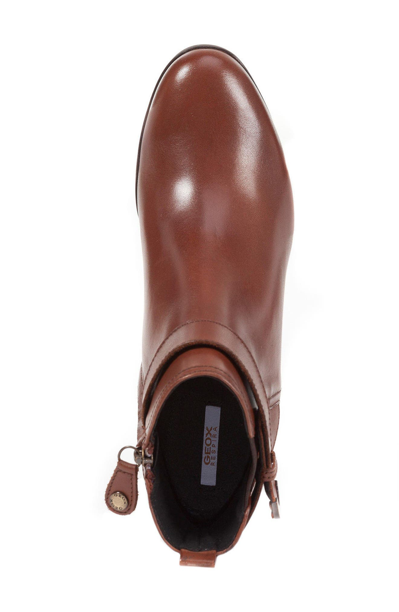 Inspiration Buckle Wedge Bootie,                             Alternate thumbnail 4, color,                             Brown Leather