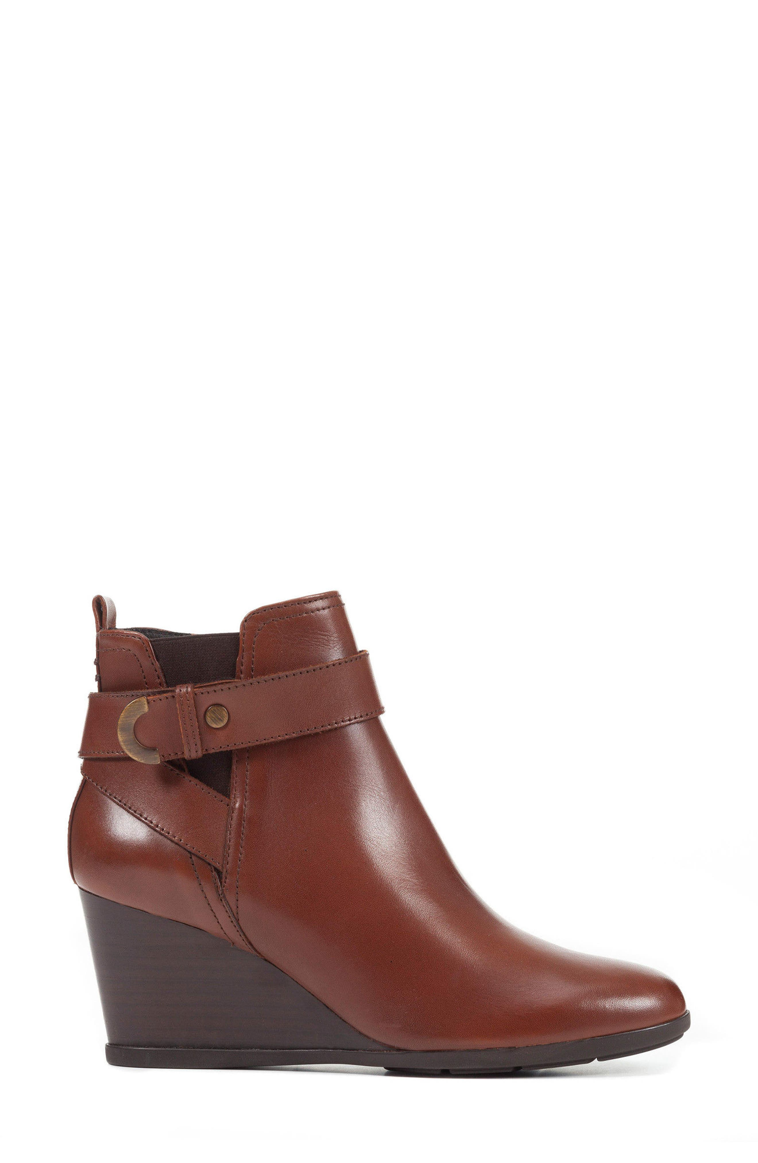 Inspiration Buckle Wedge Bootie,                             Alternate thumbnail 3, color,                             Brown Leather