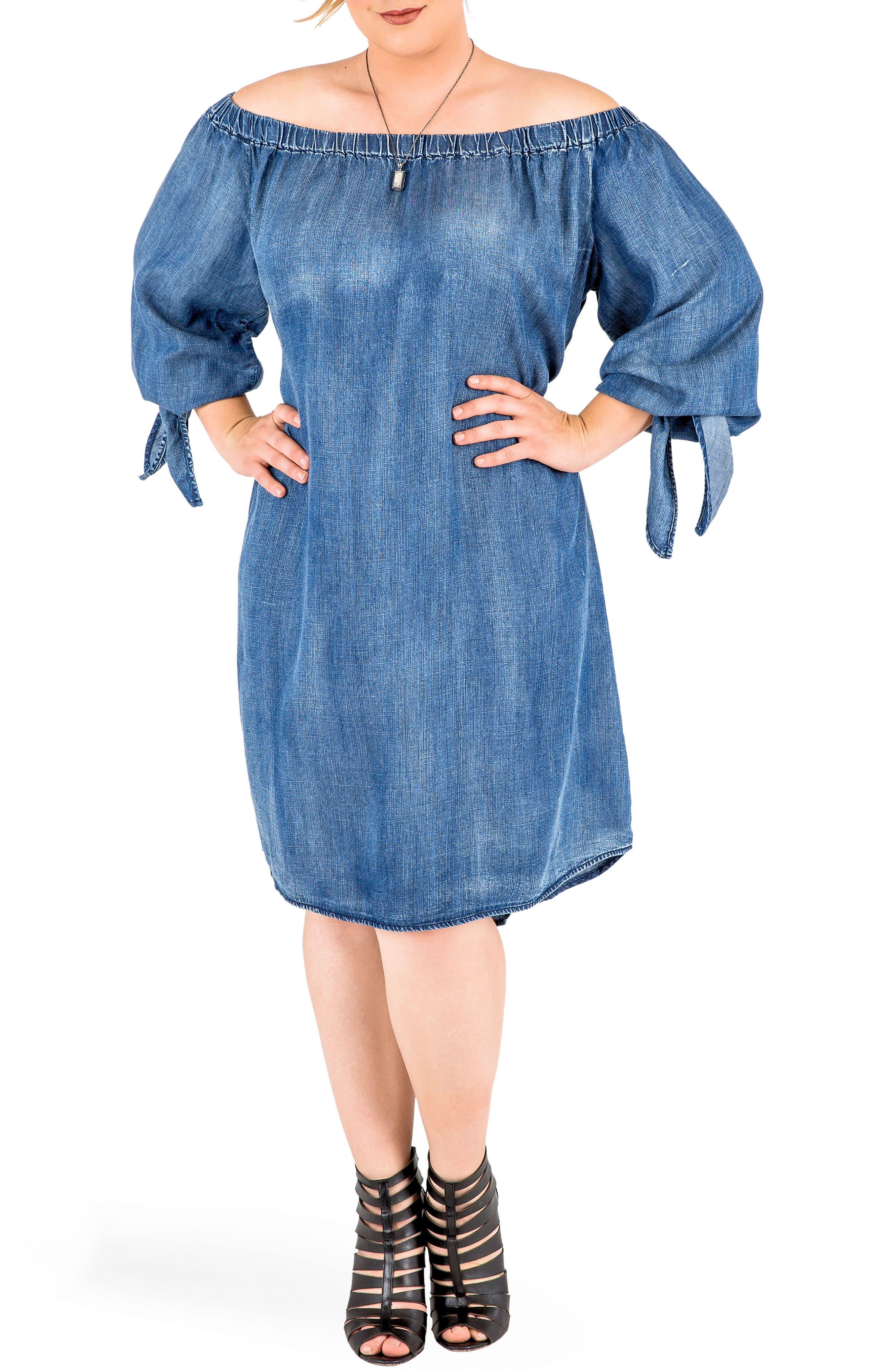 Julie Off the Shoulder Denim Dress,                             Alternate thumbnail 2, color,                             Frozen Pond