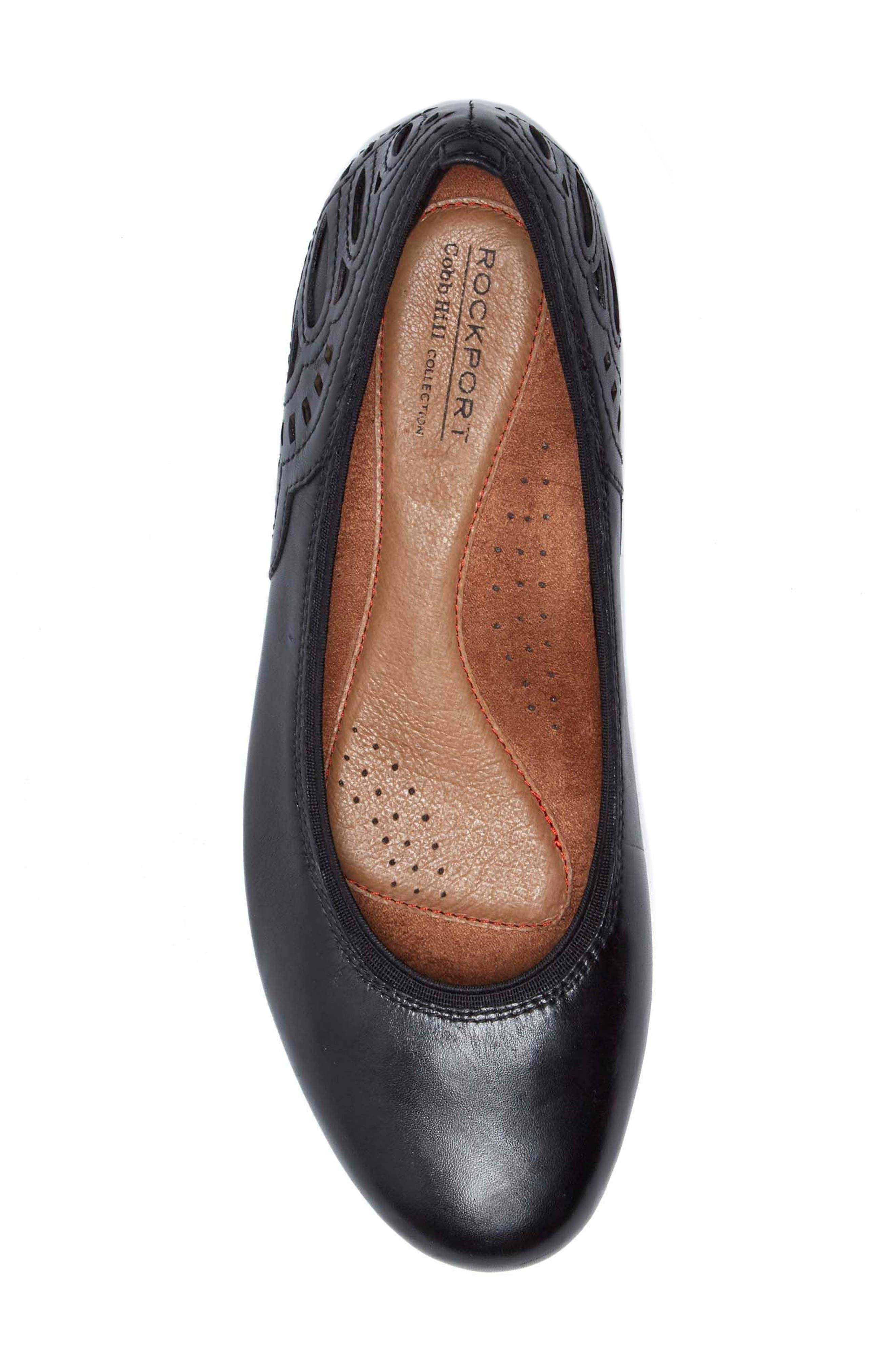 Sharleen Wedge Pump,                             Alternate thumbnail 5, color,                             Black Leather