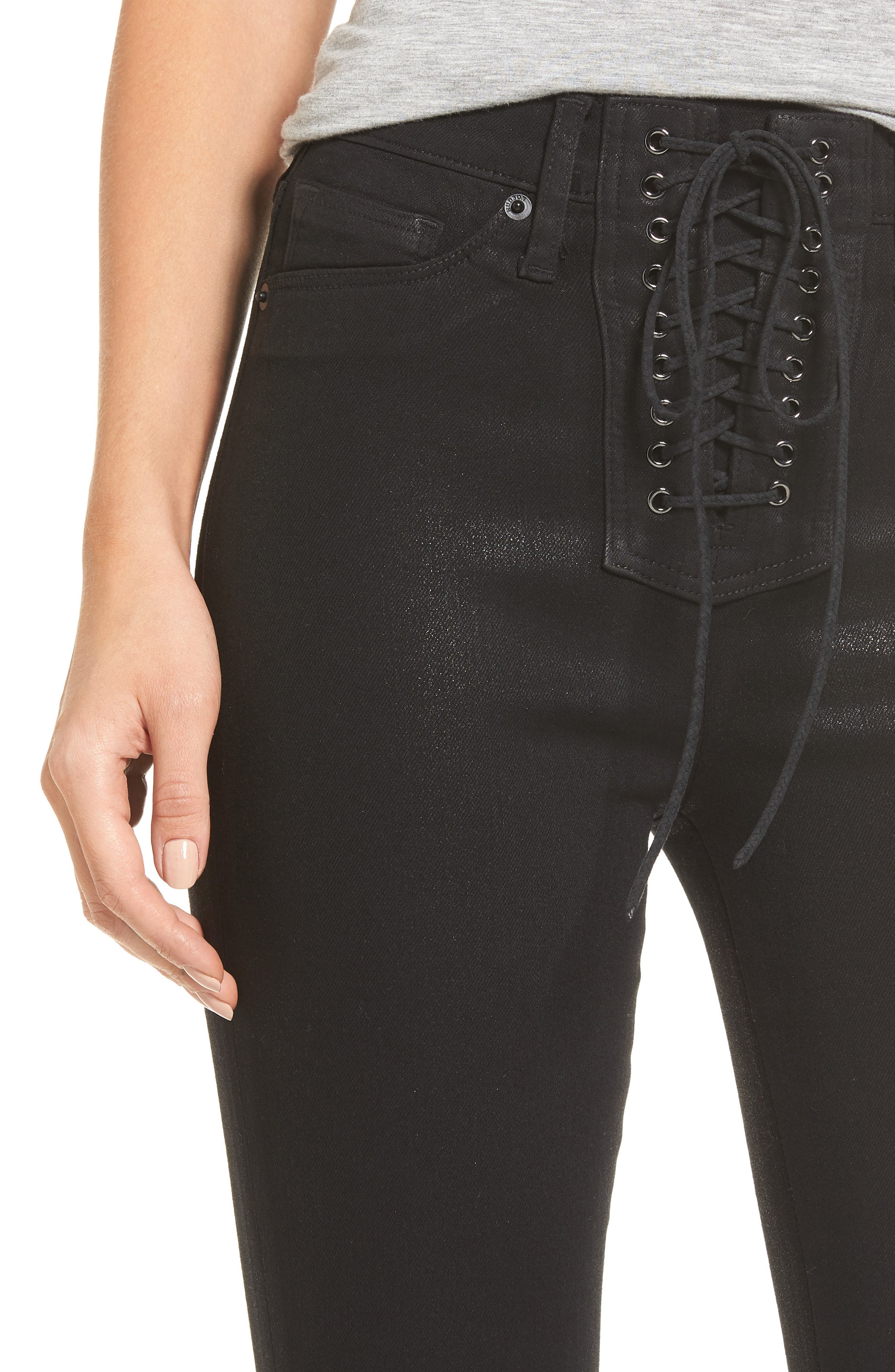 Alternate Image 4  - Hudson Jeans Bullocks High Waist Lace-Up Skinny Jeans (Black Coated)