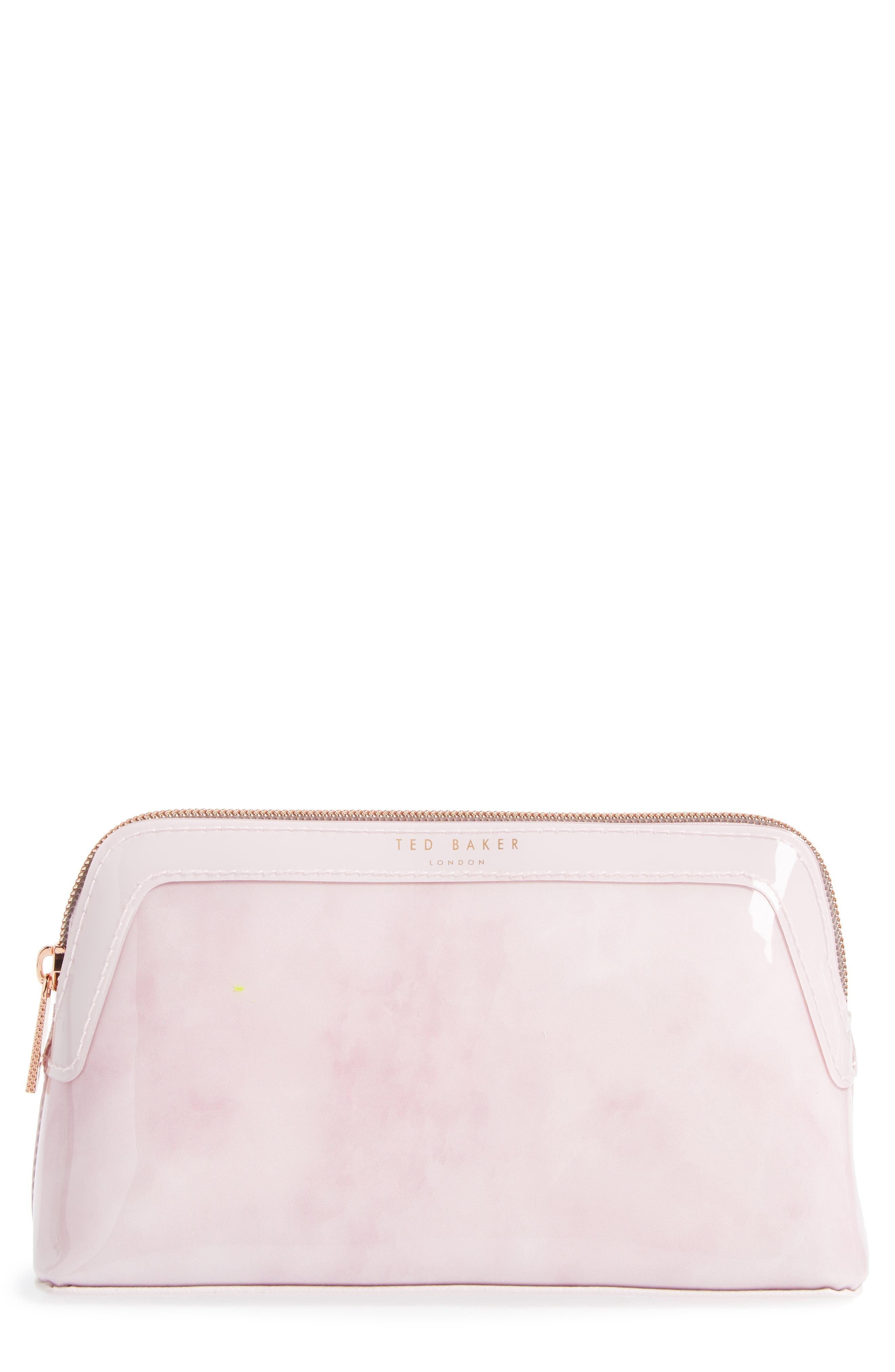 Zandra - Rose Quartz Cosmetics Bag,                             Main thumbnail 1, color,                             Nude Pink